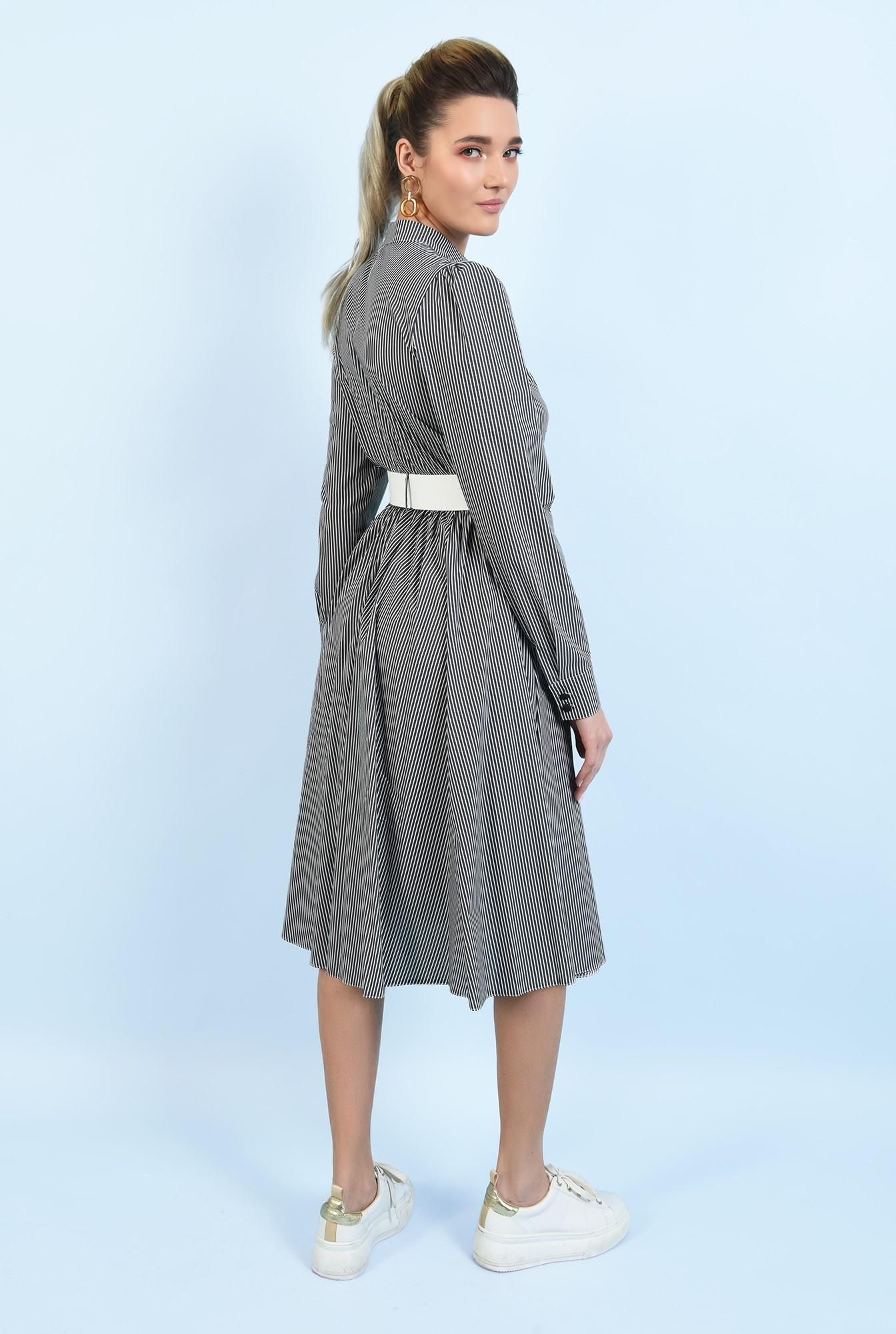 1 -  rochie casual, evazata, cu nasturi, cu dungi, curea alba