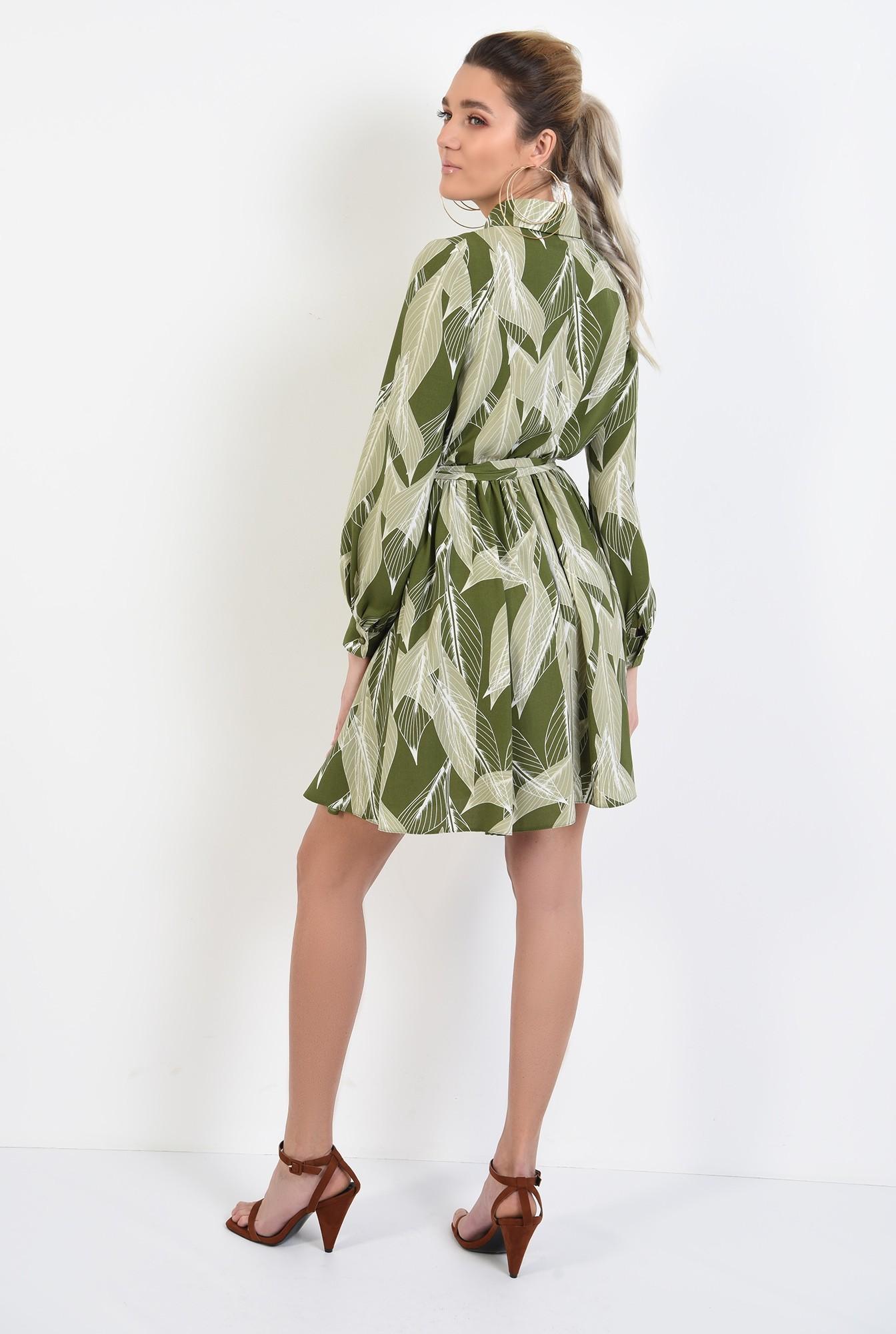 1 - 360 - rochie mini, cu print botanic, maneci lungi, nasturi, cordon