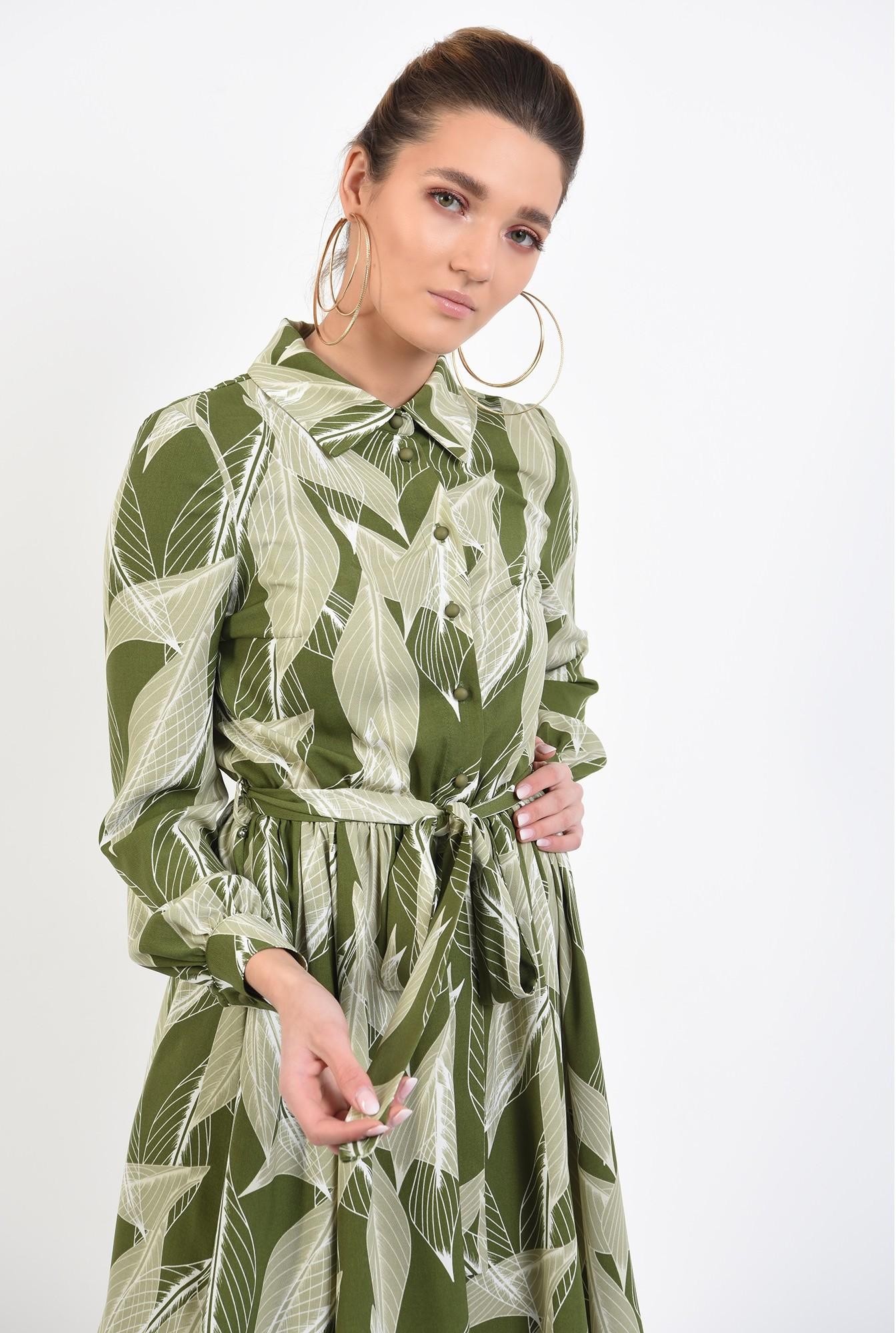 2 - 360 - rochie mini, cu print botanic, maneci lungi, nasturi, cordon
