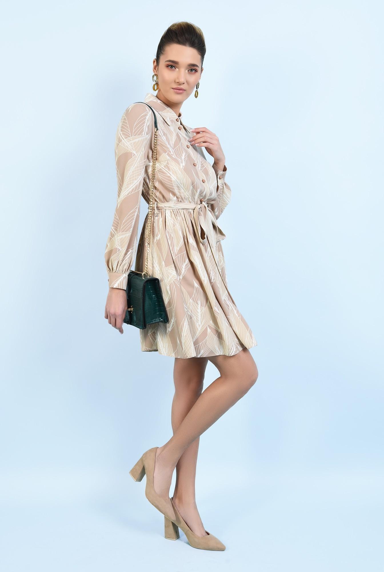 3 -  rochie casual, scurta, evazata, cu nasturi, cu cordon