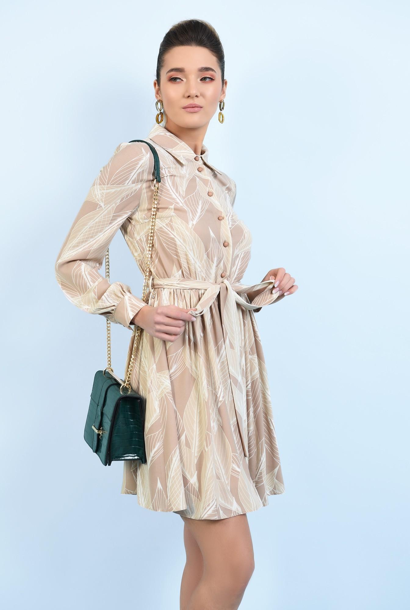 0 -  rochie casual, scurta, evazata, cu nasturi, cu cordon