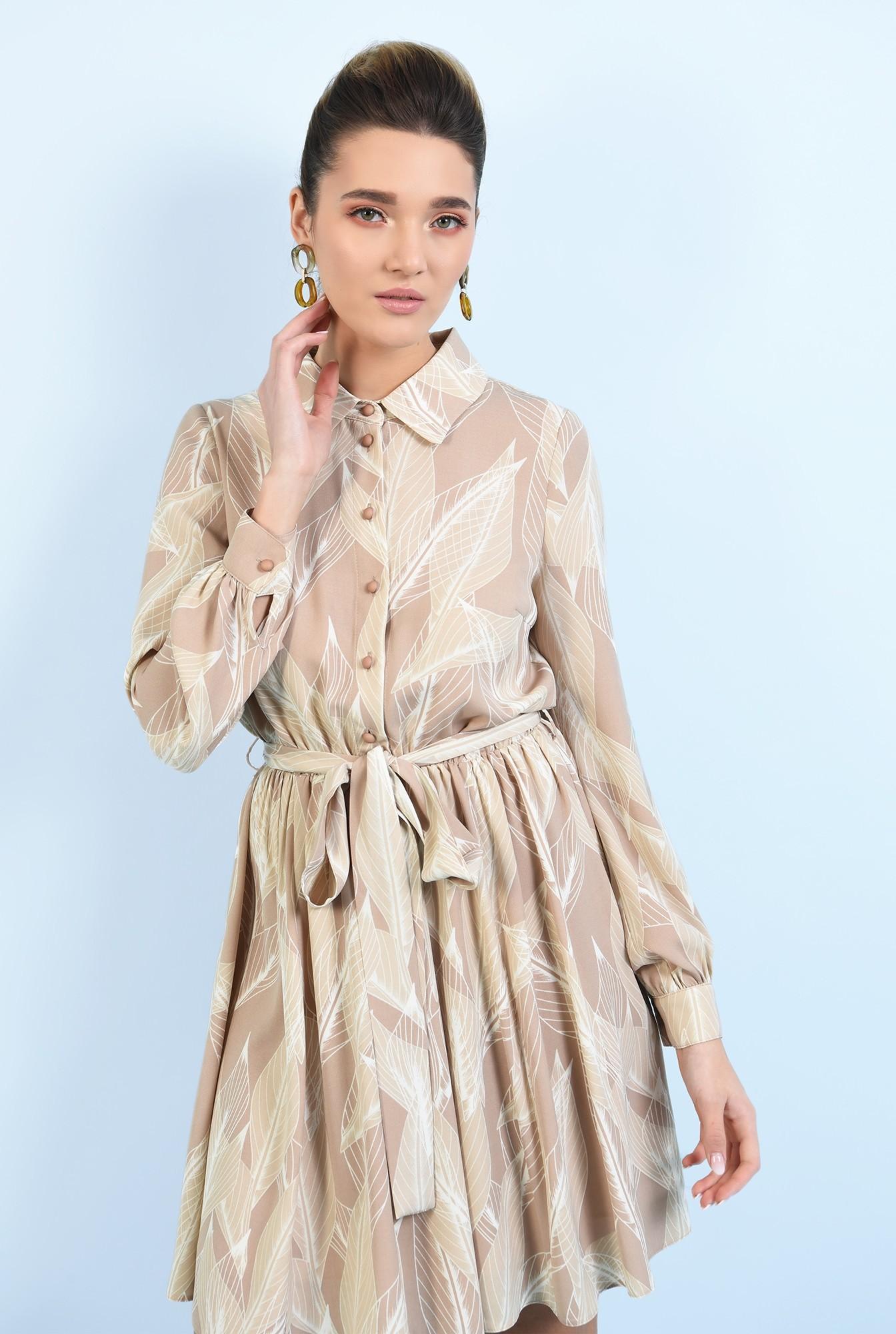 2 -  rochie casual, scurta, evazata, cu nasturi, cu cordon