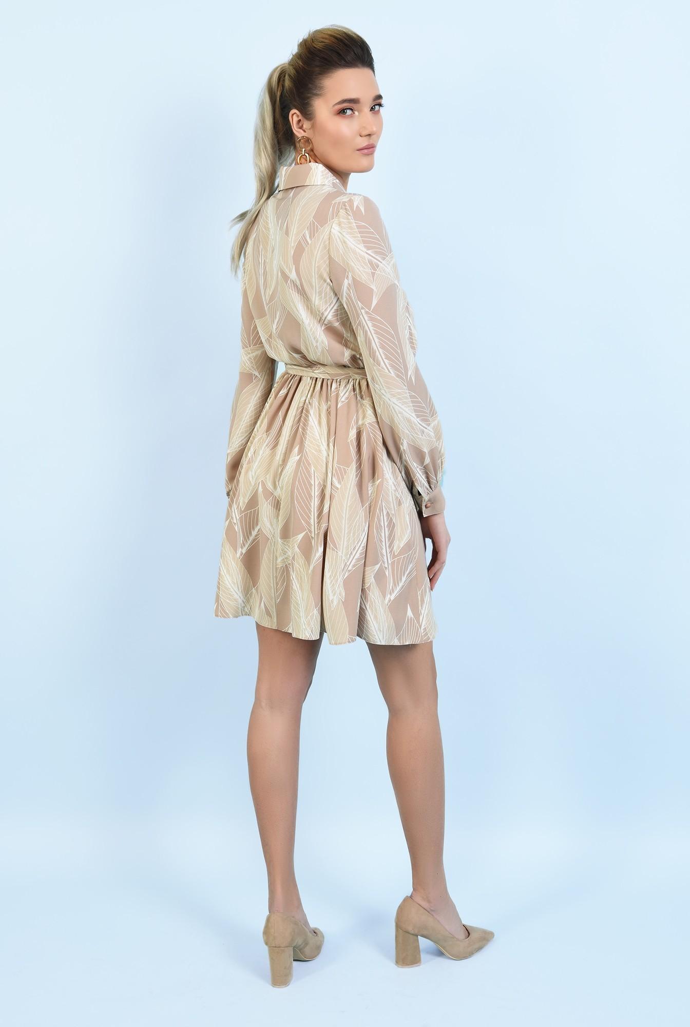 1 -  rochie casual, scurta, evazata, cu nasturi, cu cordon