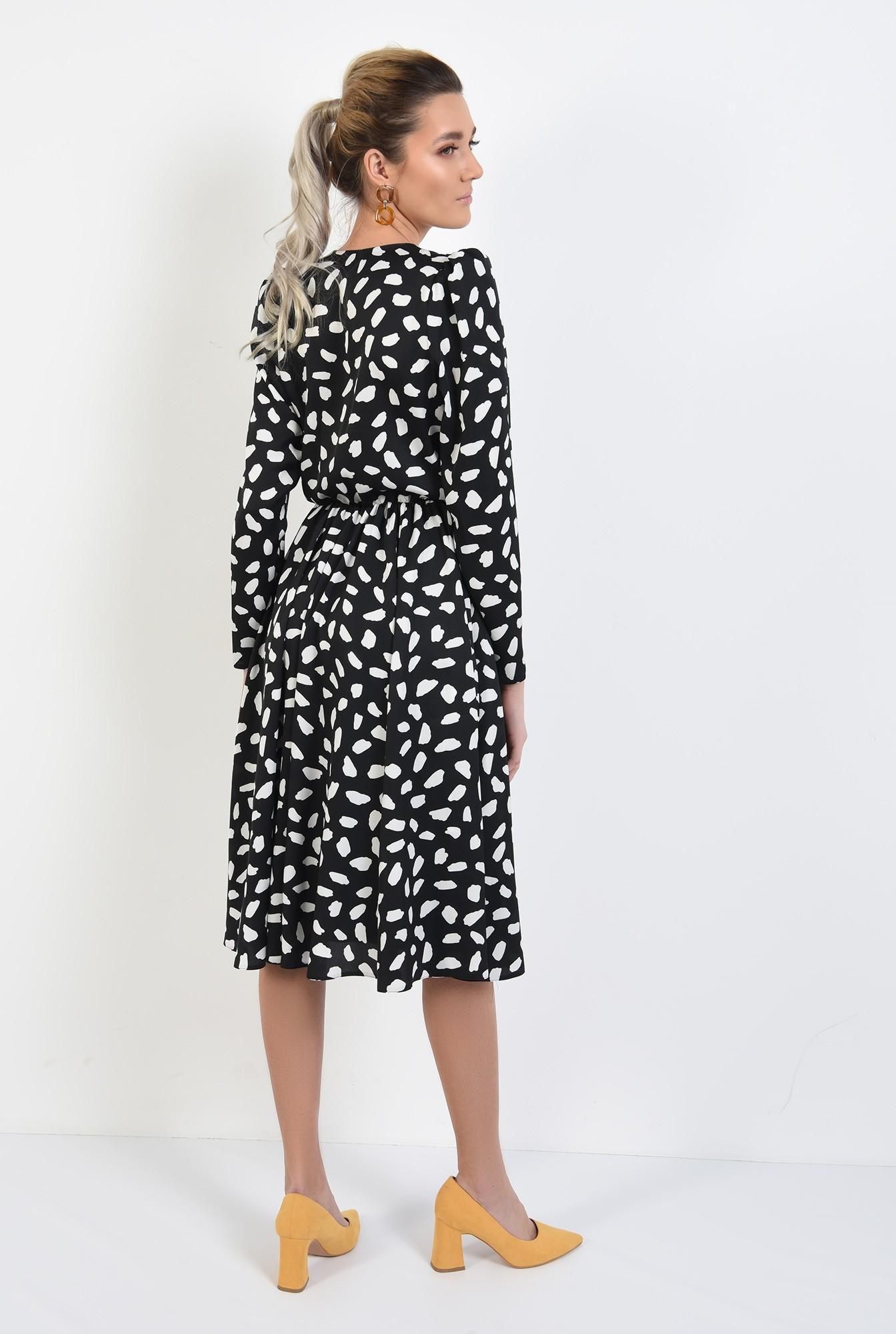 1 - rochie midi, evazata, cu imprimeu, alb-negru, decolteu petrecut