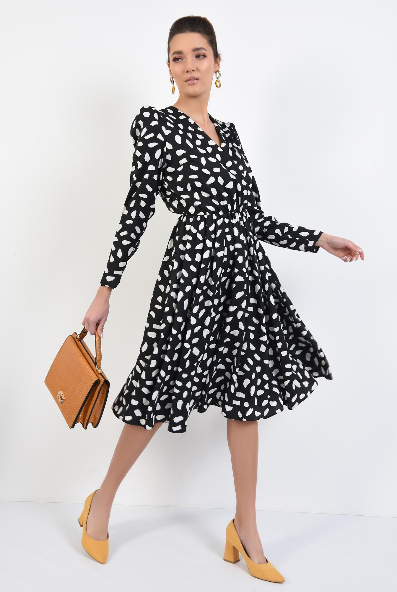 3 - rochie midi, evazata, cu imprimeu, alb-negru, decolteu petrecut