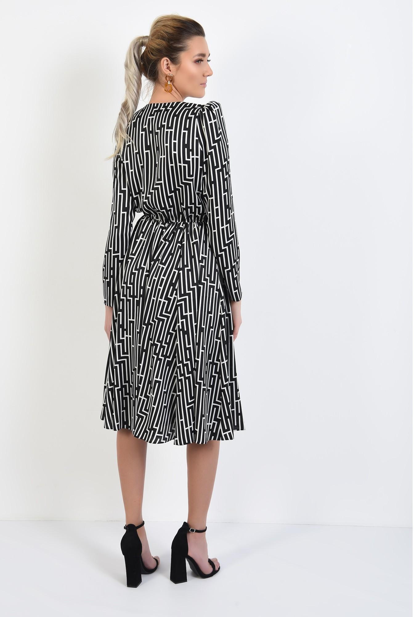 1 - 360 - rochie midi, clos, cu anchior, maneci lungi, talie pe elastic
