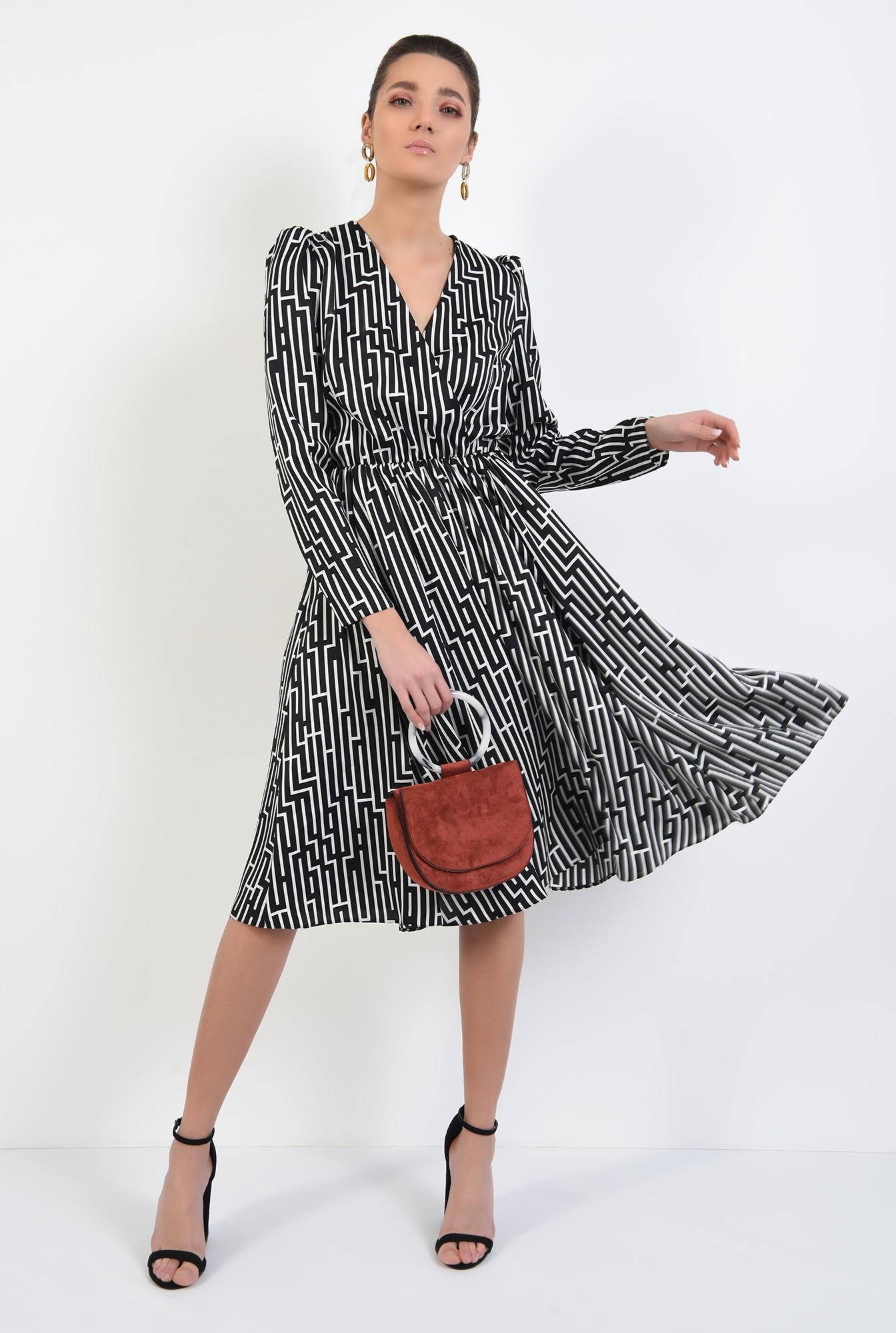 3 - 360 - rochie midi, clos, cu anchior, maneci lungi, talie pe elastic