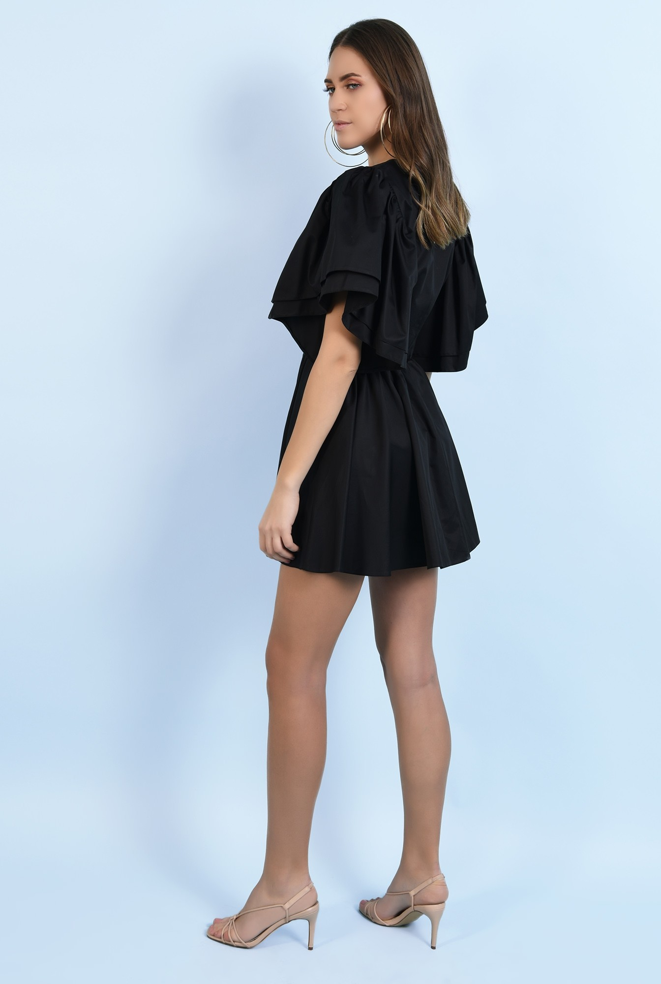 1 - 360 - rochie din bumbac, mini, clos, maneci fluture
