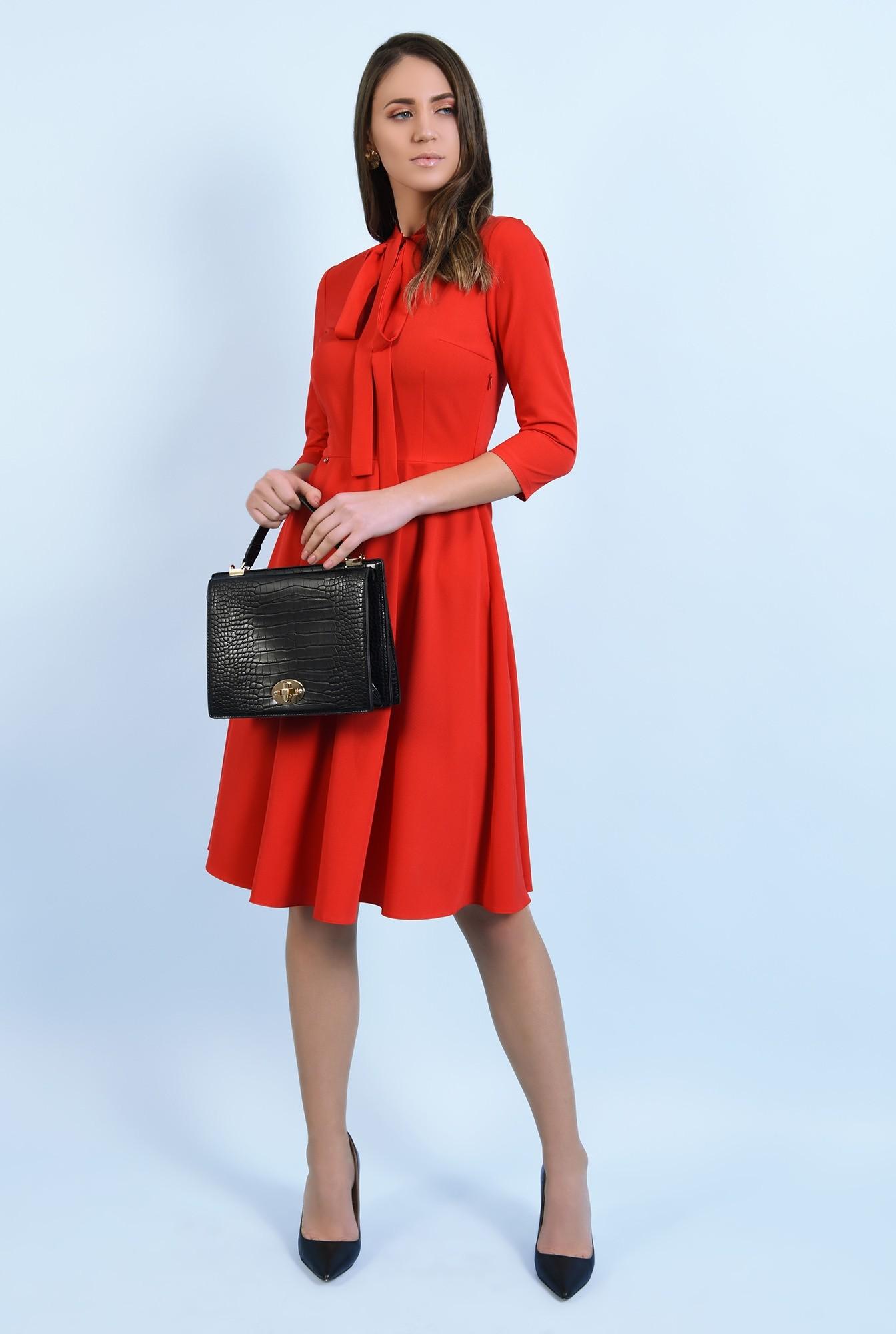 3 - rochie rosie, casual, midi, evazata, cu funda, Poema