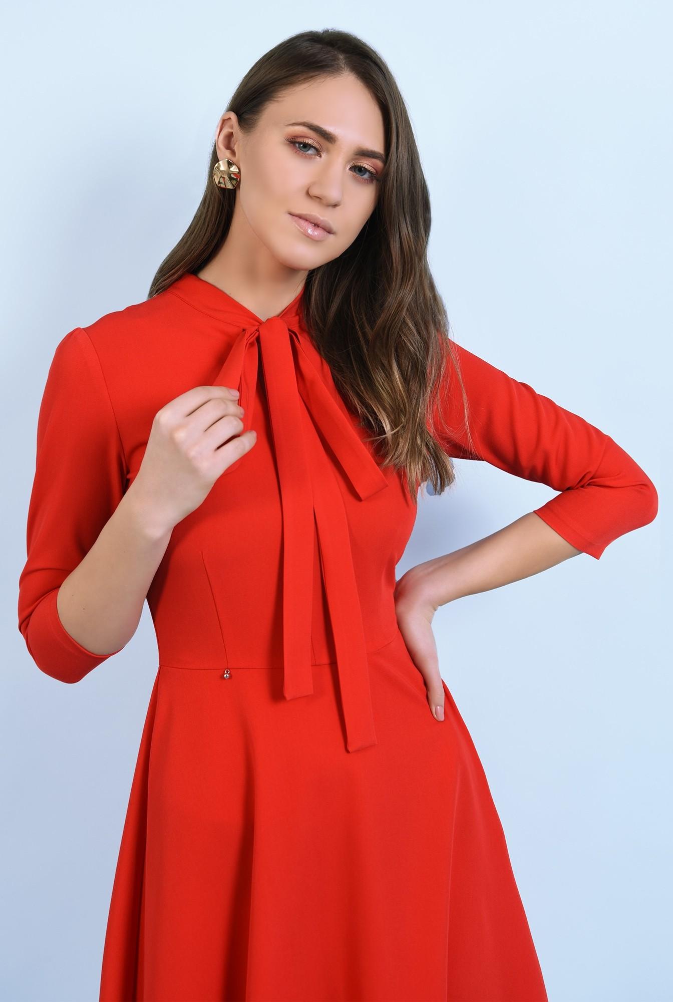 2 - rochie rosie, casual, midi, evazata, cu funda, Poema