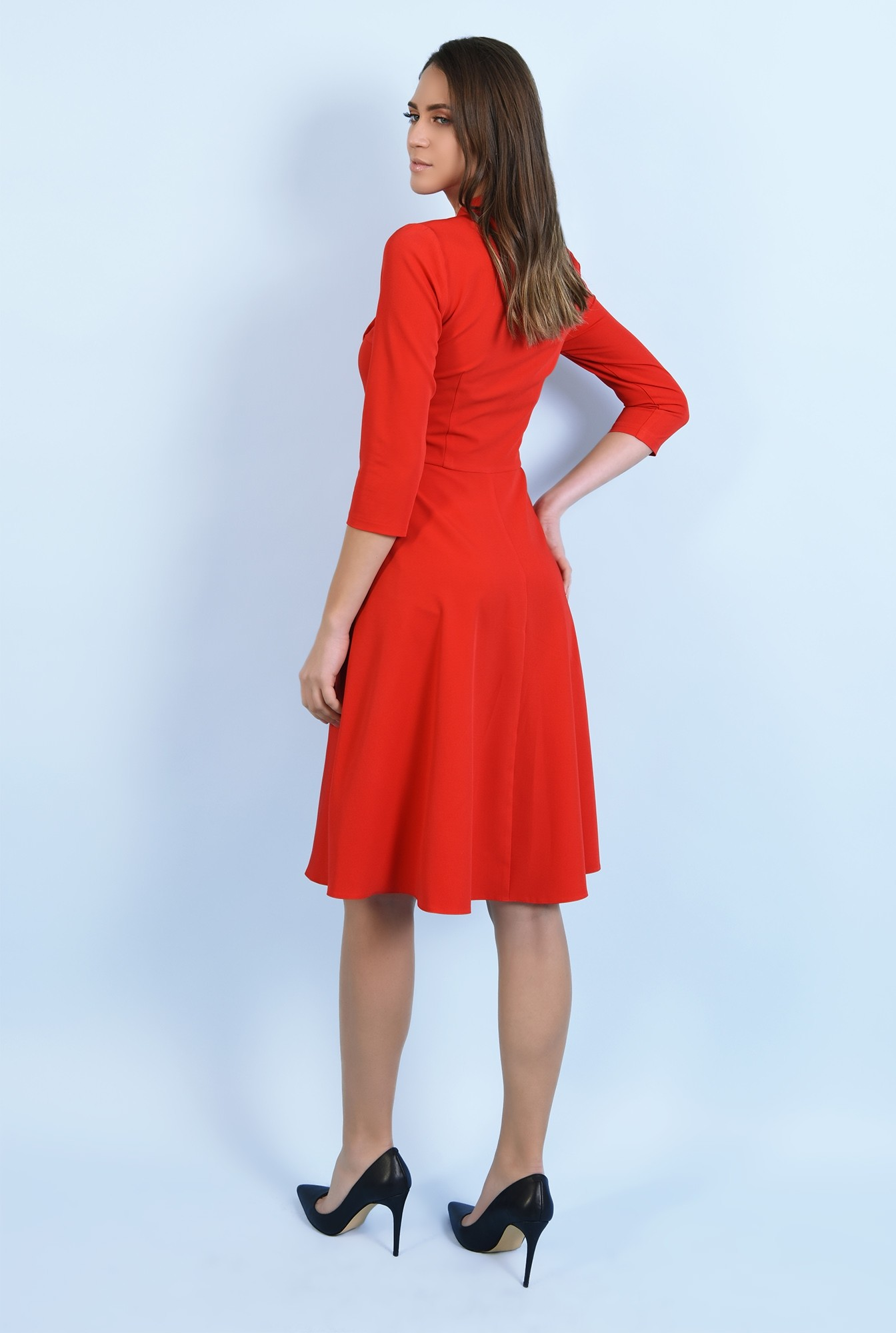 1 - rochie rosie, casual, midi, evazata, cu funda, Poema