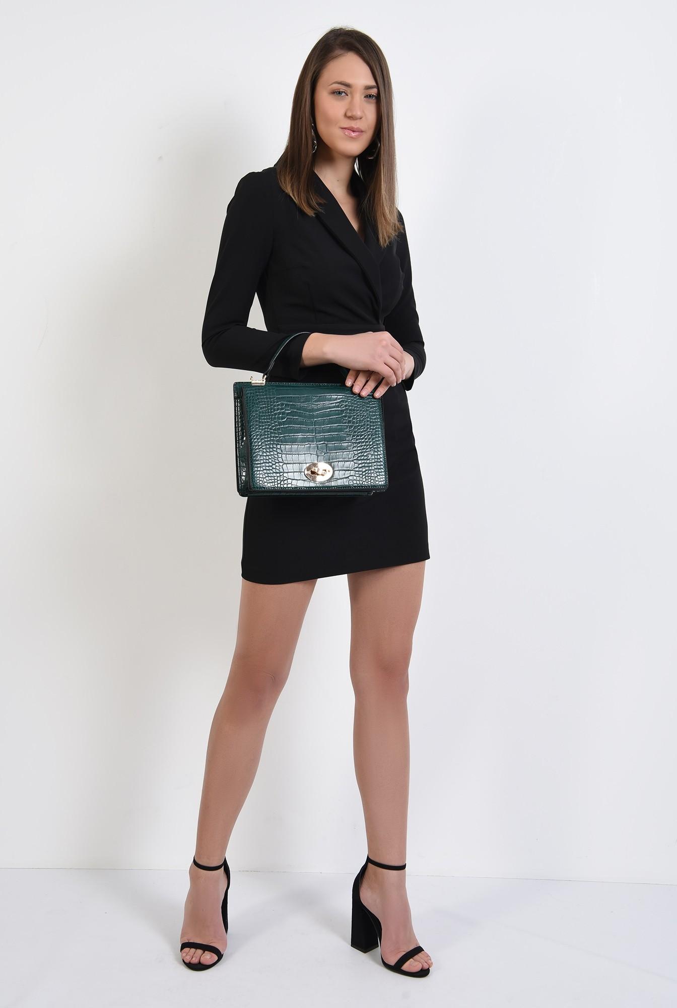 3 - rochie mini, neagra, cu revere, scurta, maneci ajustate, Poema