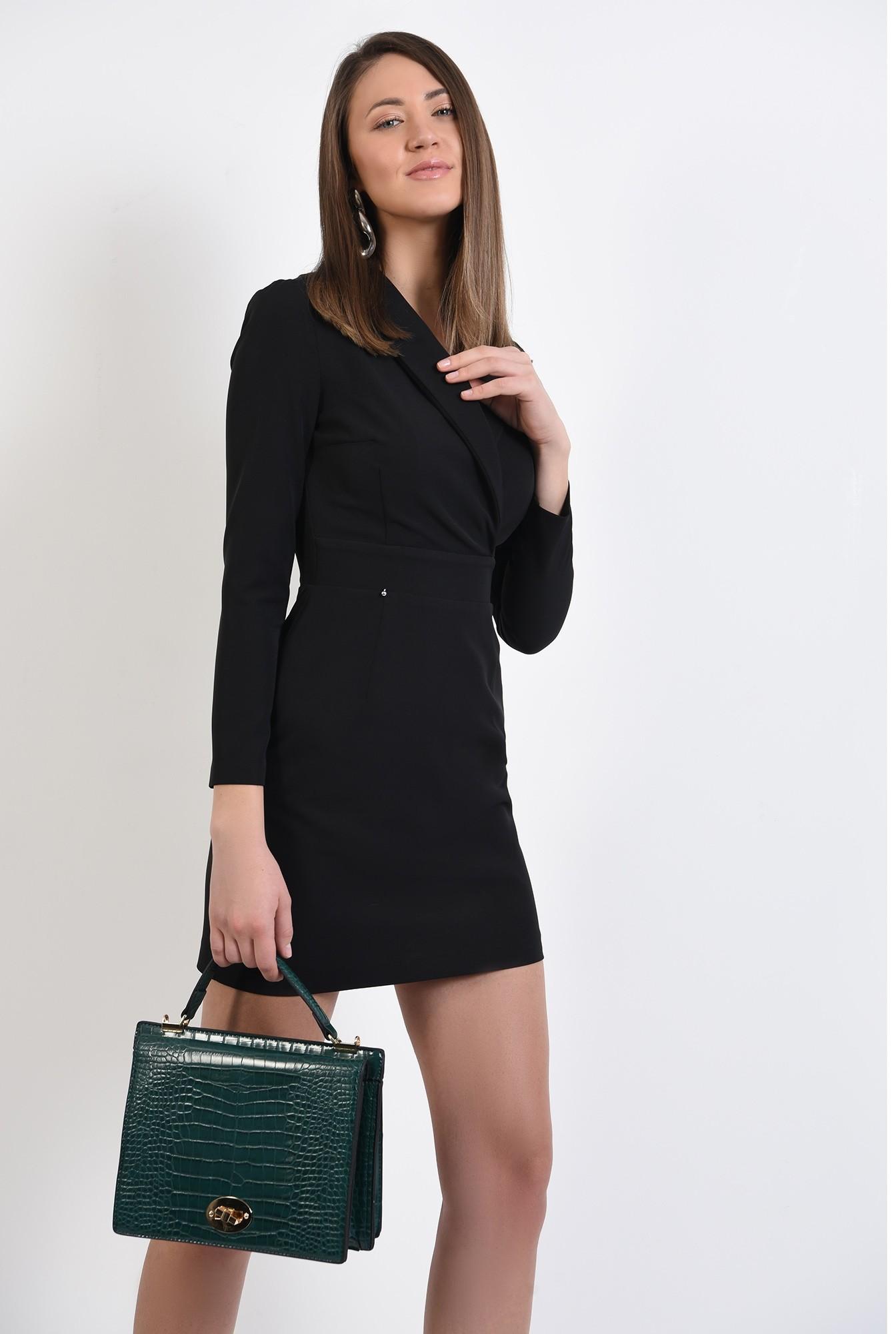 0 - rochie mini, neagra, cu revere, scurta, maneci ajustate, Poema