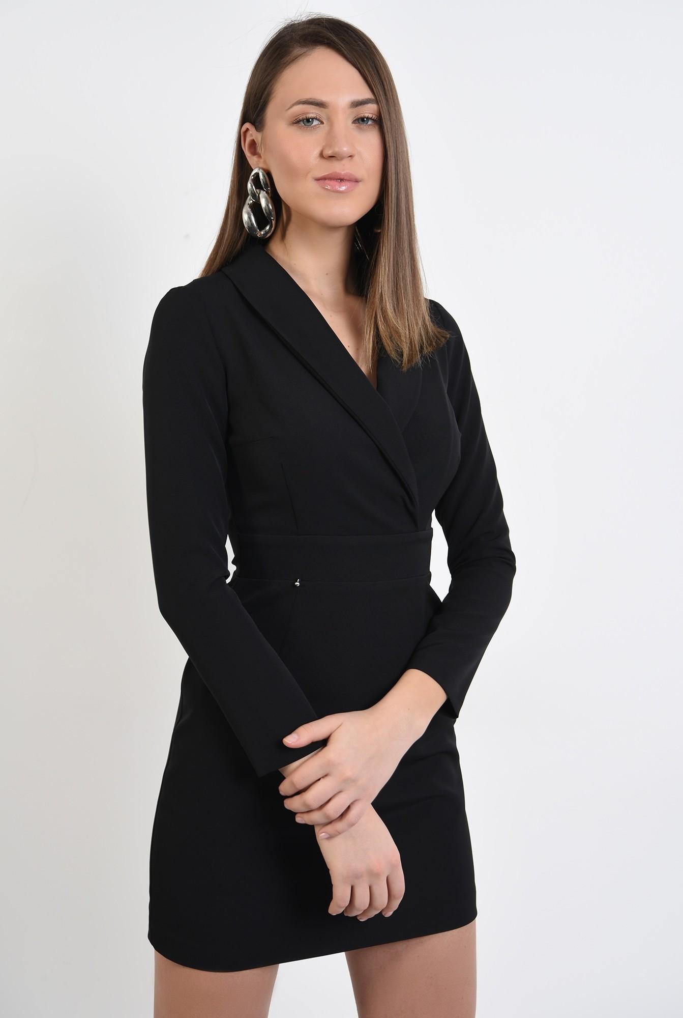 2 - rochie mini, neagra, cu revere, scurta, maneci ajustate, Poema