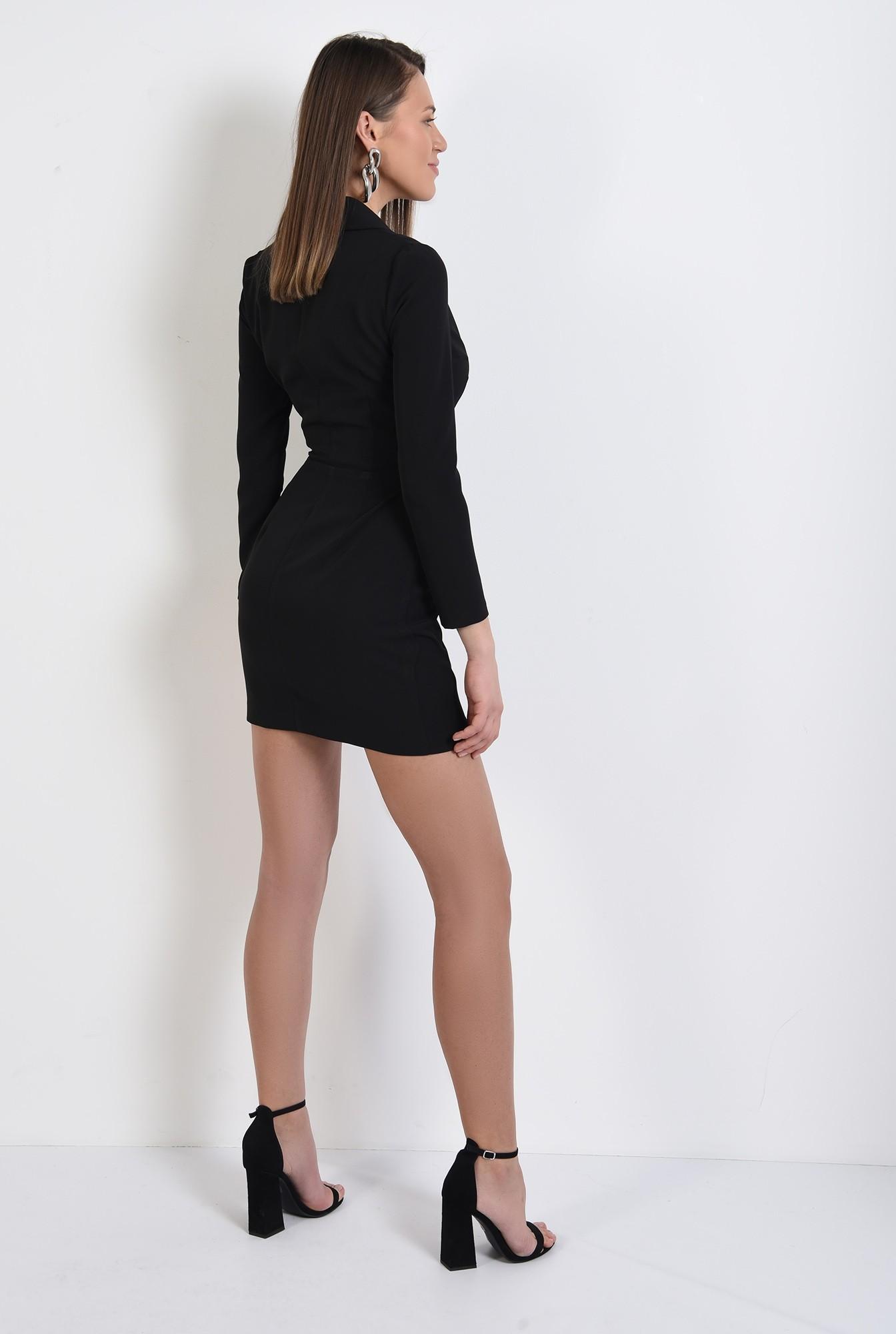 1 - rochie mini, neagra, cu revere, scurta, maneci ajustate, Poema