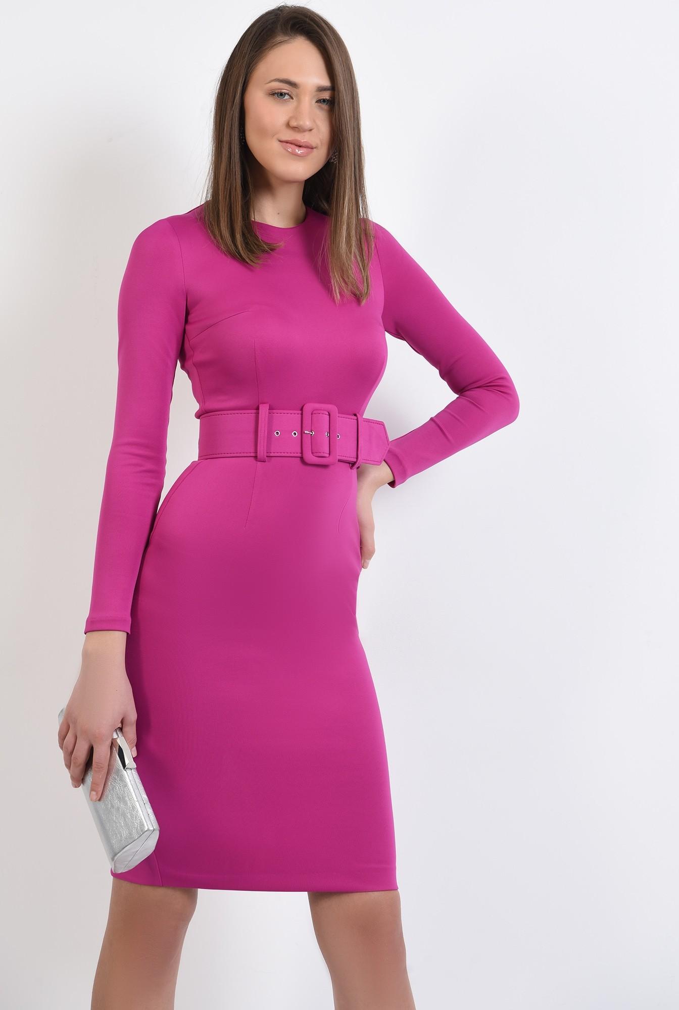 0 - 360 - rochie eleganta, midi, conica, cu centura, rochie de ocazie
