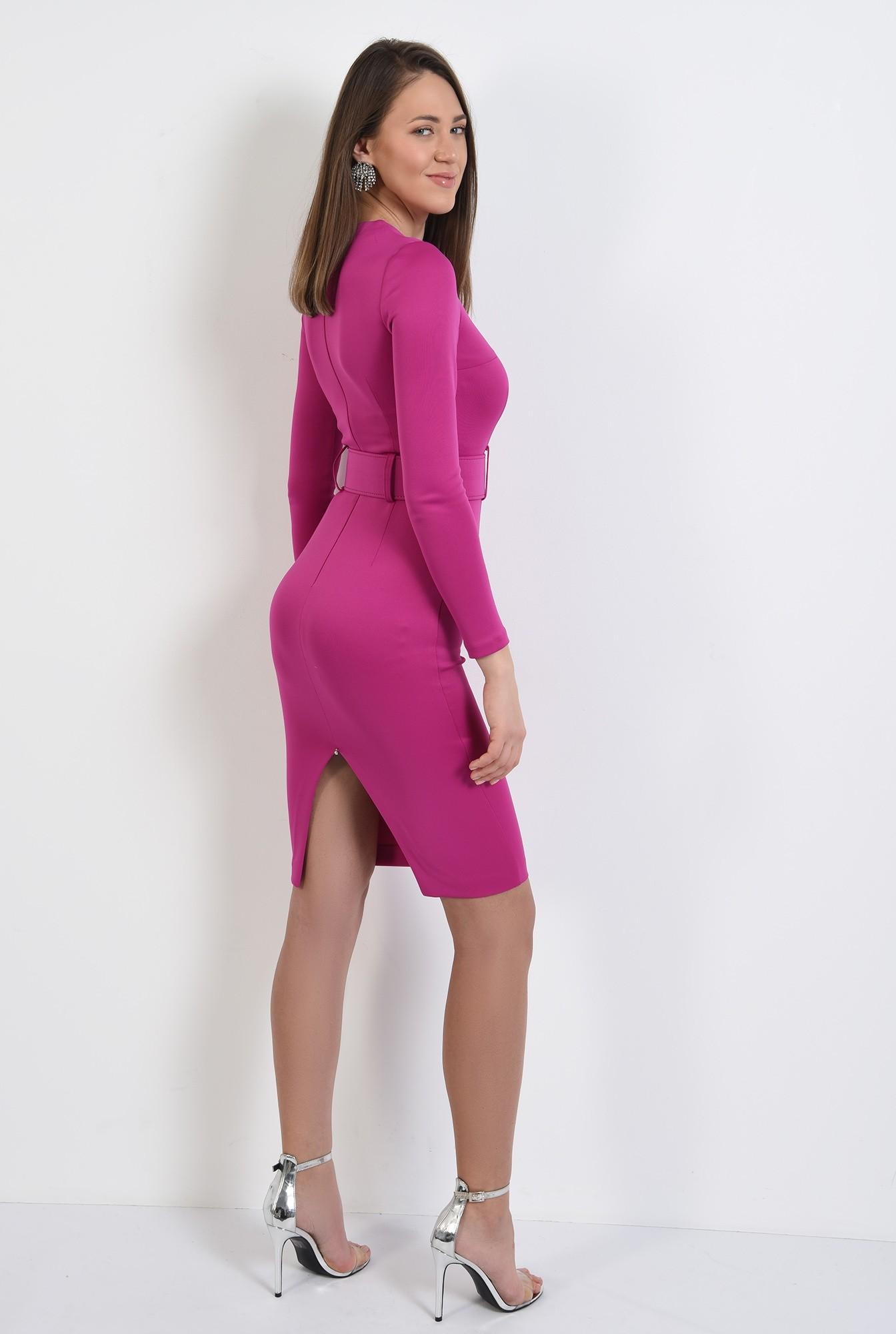 1 - 360 - rochie eleganta, midi, conica, cu centura, rochie de ocazie
