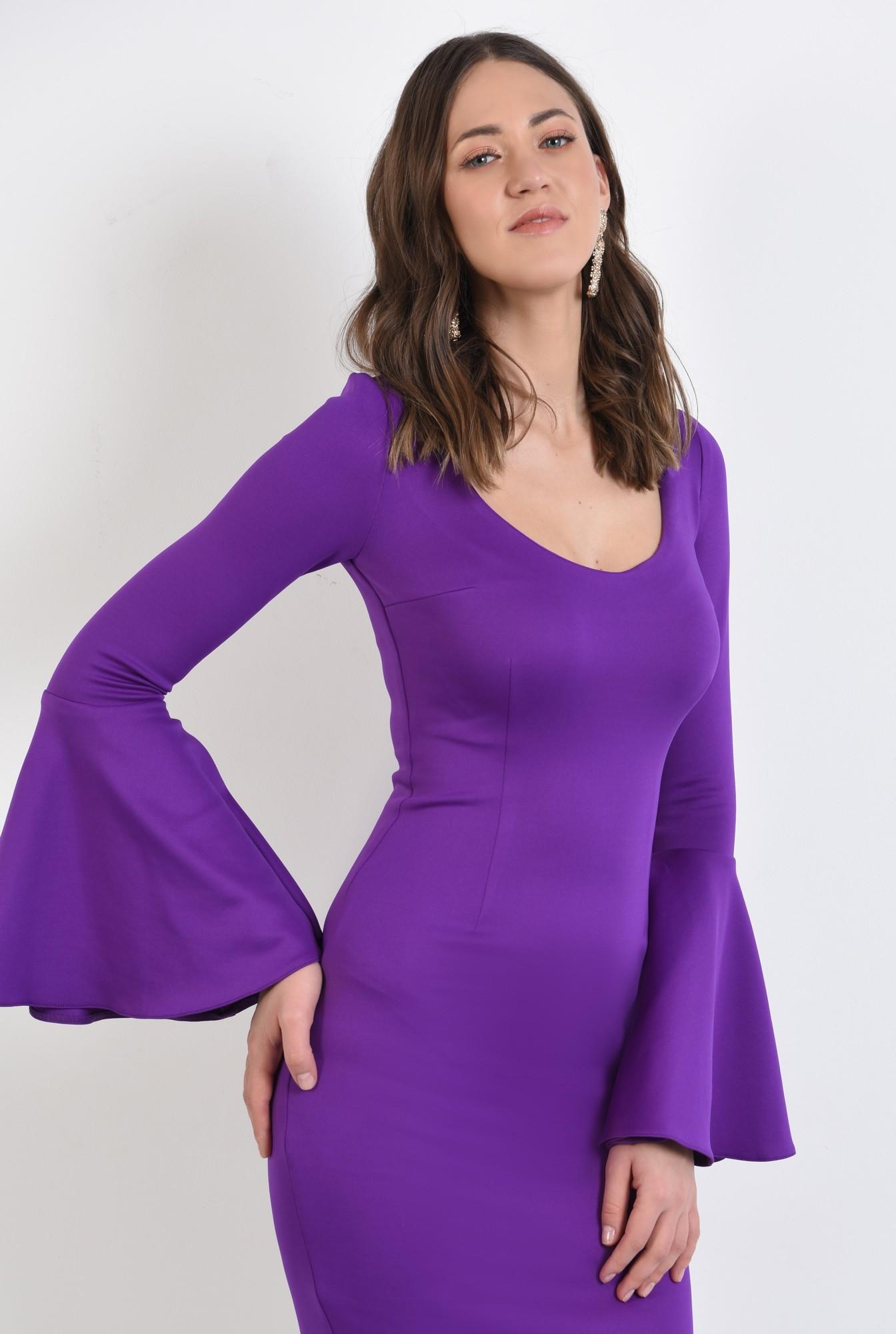 2 -  rochie eleganta, midi, conica, decoltata, maneci peplum