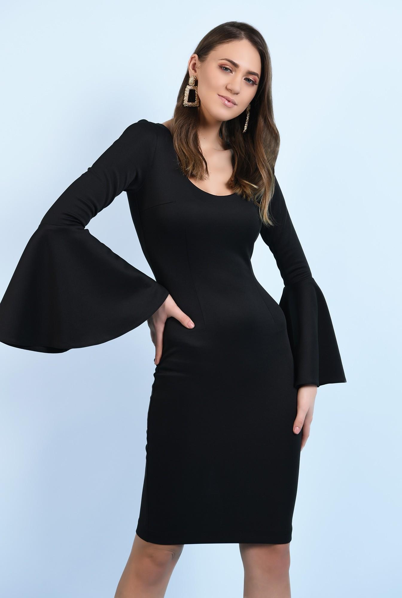 2 - 360 - rochie neagra, midi, mulata, maneci peplum, neagra