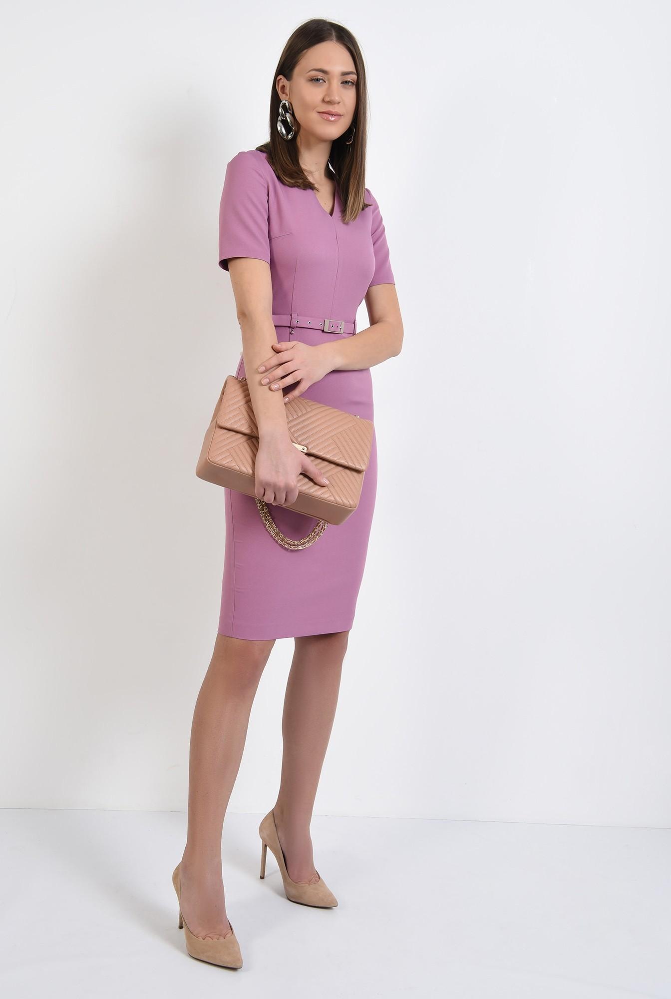 3 - rochie midi, cambrata, cu curea fina, maneci scurte, rochie office, rochie de primavara
