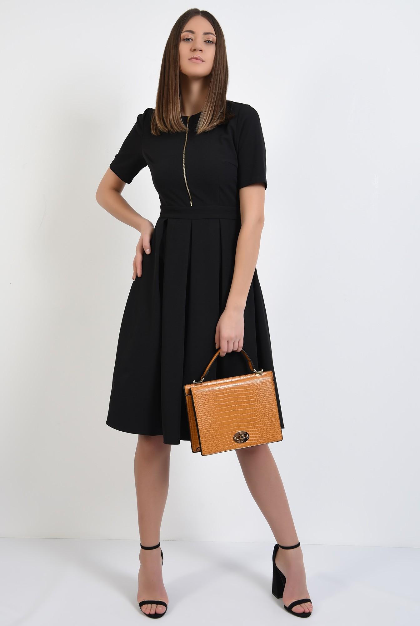 3 - rochie neagra, office, midi, evazata, cu fermoar metalic