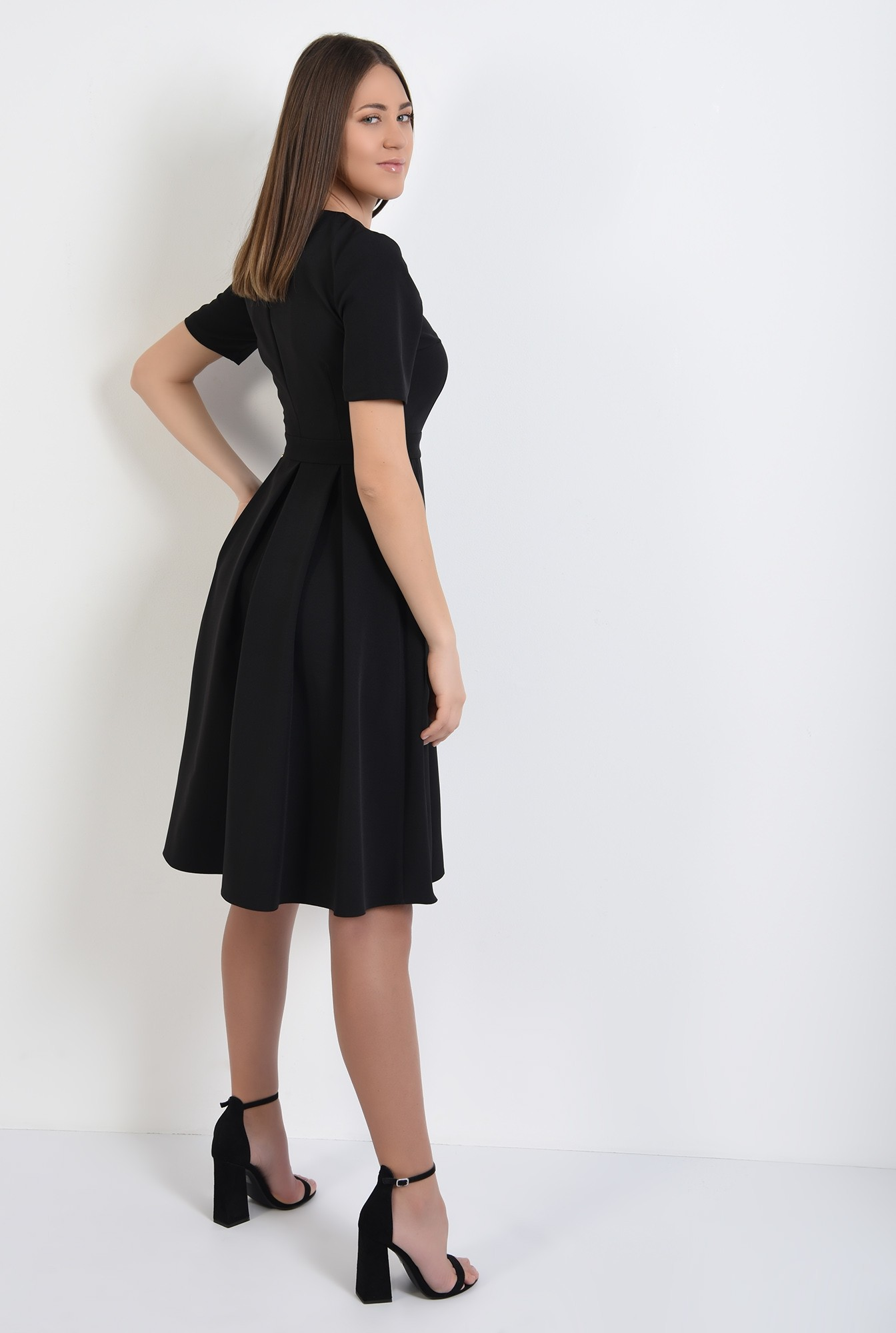 1 - rochie neagra, office, midi, evazata, cu fermoar metalic