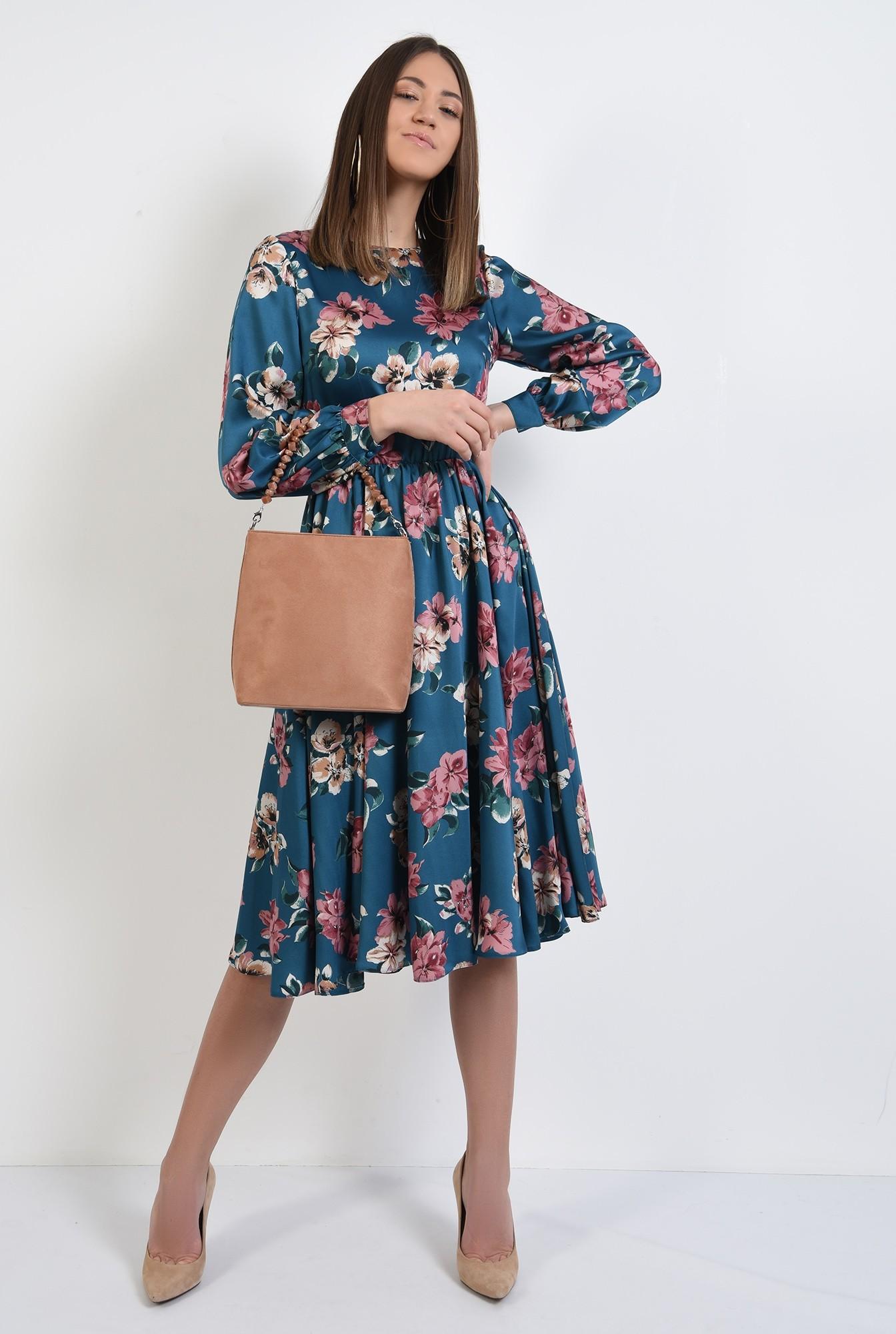 3 - 360 - rochie de primavara, clos, cu imprimeu floral, evazata, maneci lungi bufante