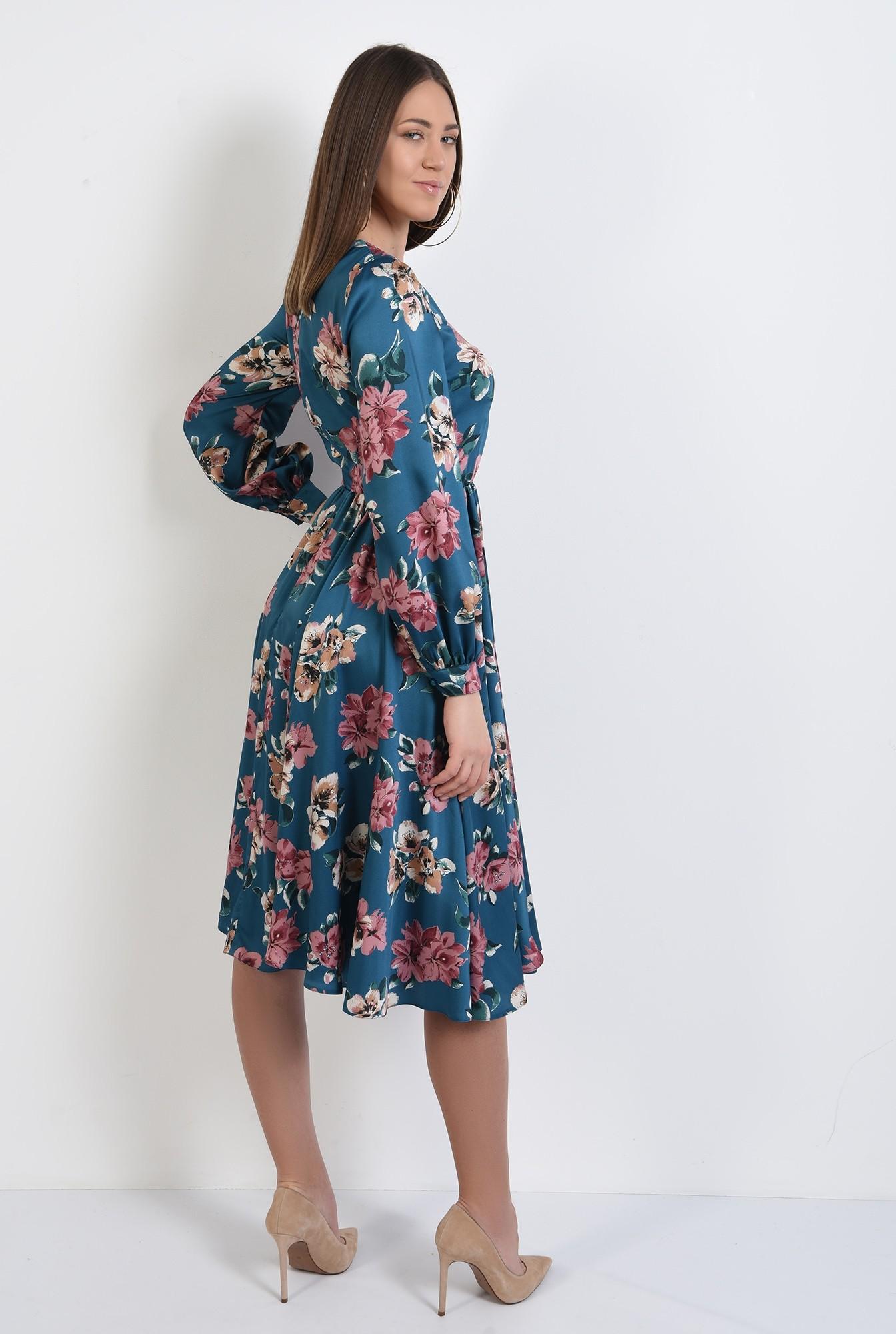 1 - 360 - rochie de primavara, clos, cu imprimeu floral, evazata, maneci lungi bufante