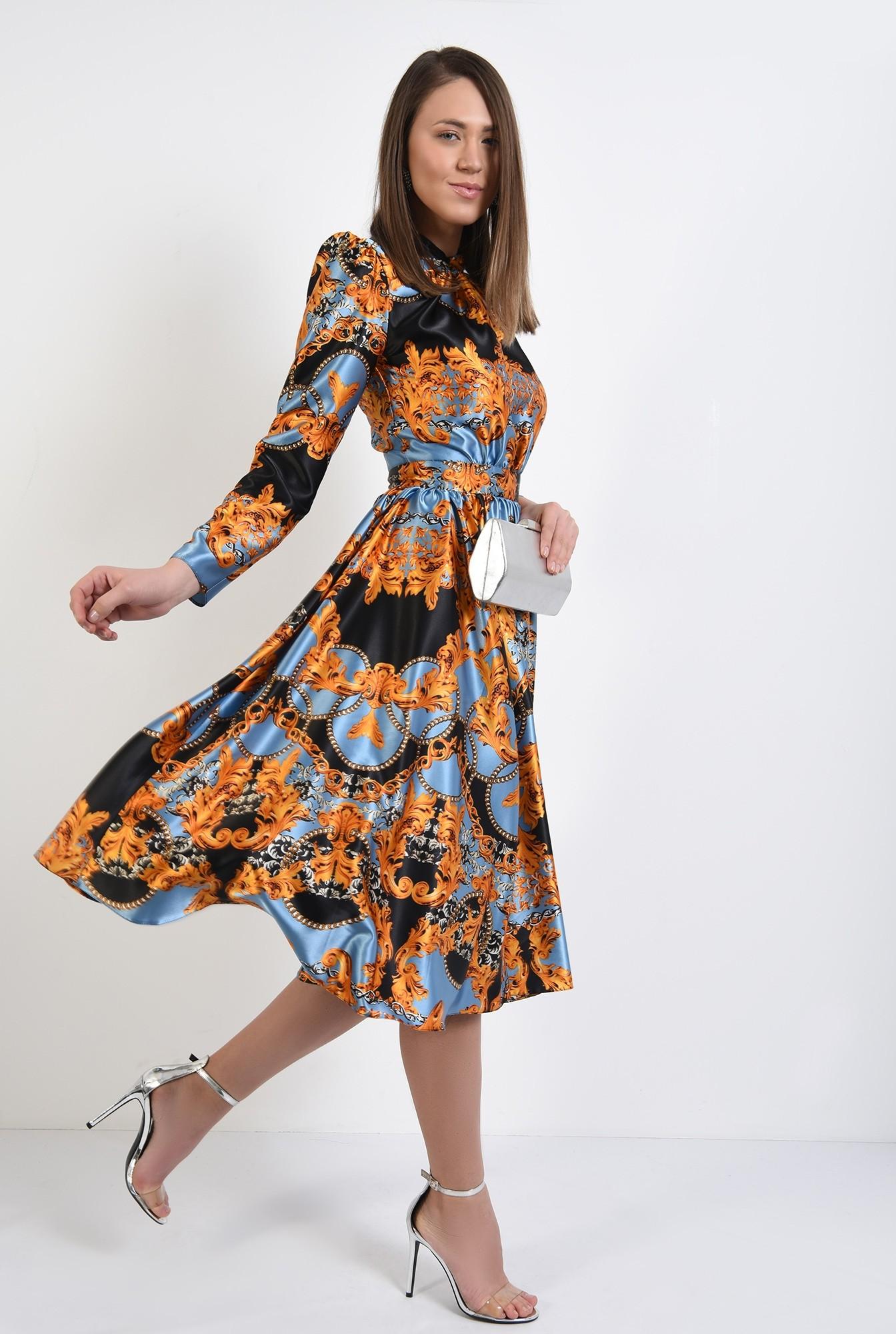 3 -  rochie din satin, eleganta, cu imprimeu, rochie de ocazie, Poema