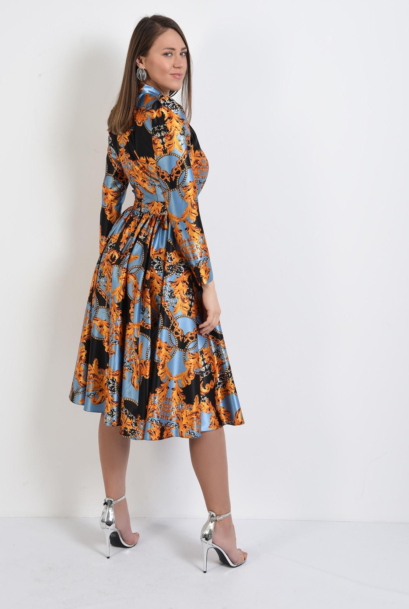 1 -  rochie din satin, eleganta, cu imprimeu, rochie de ocazie, Poema