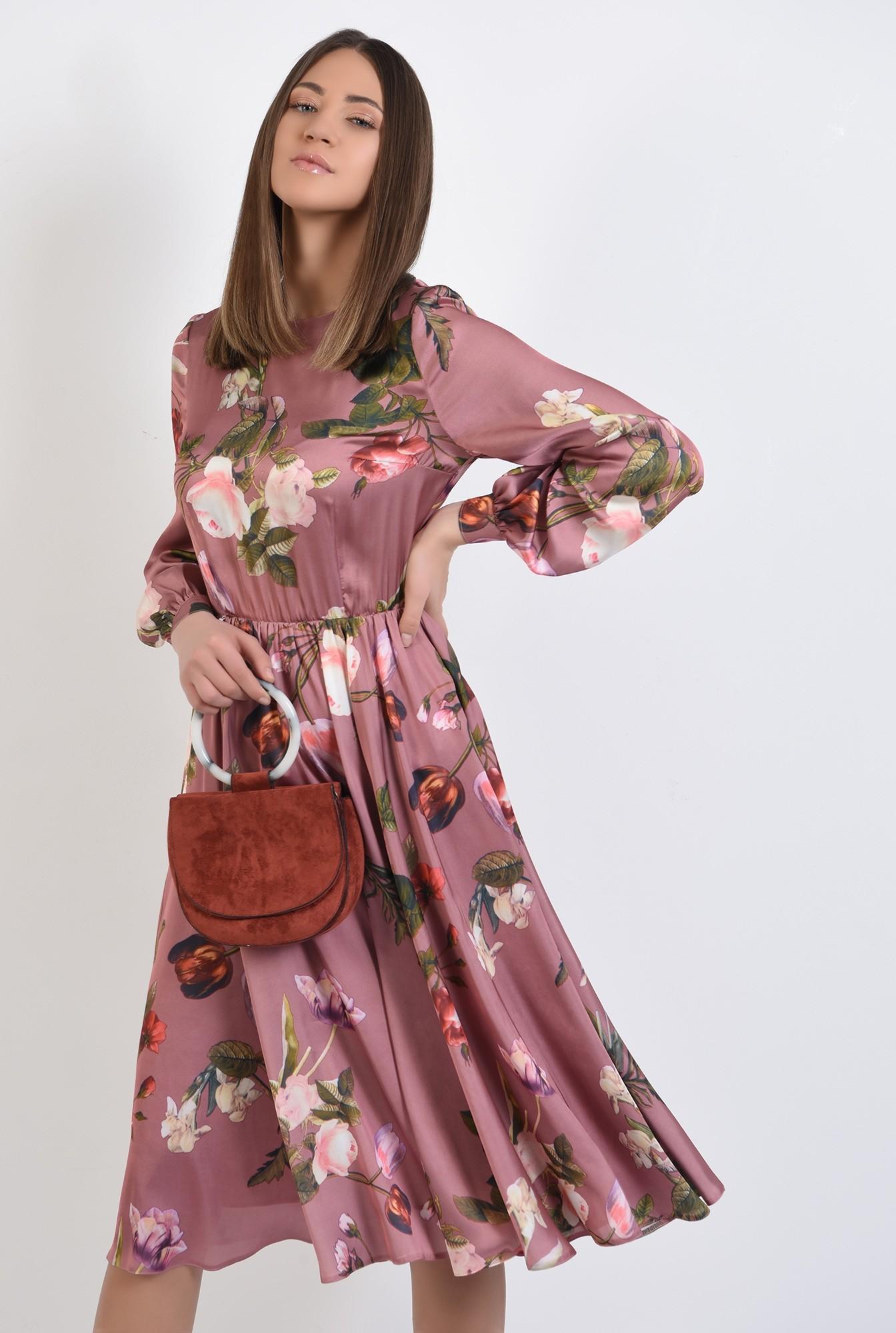 0 - 360 - rochie de primavara, clos, cu imprimeu floral, evazata, maneci lungi bufante