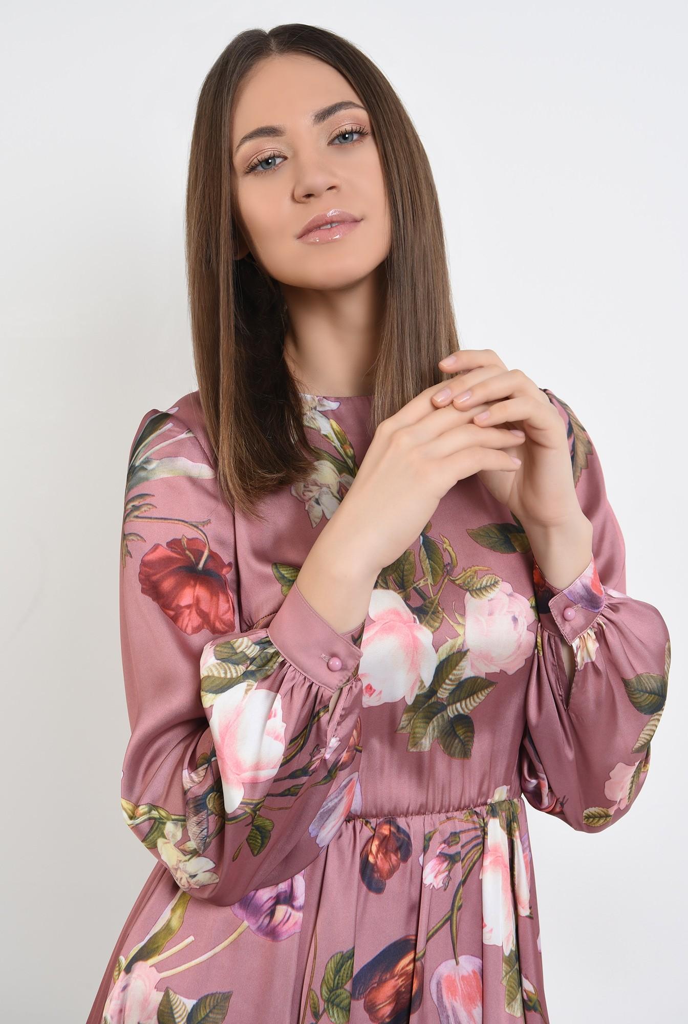 2 - 360 - rochie de primavara, clos, cu imprimeu floral, evazata, maneci lungi bufante