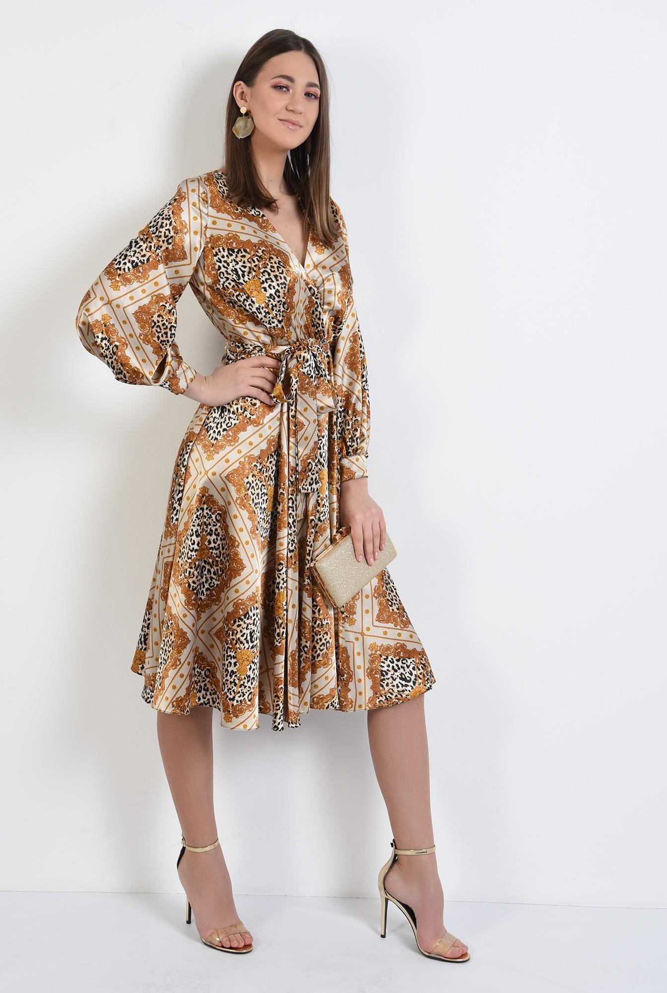 3 -  rochie eleganta, midi, evazata, cu imprimeu, animal print, rochie de primavara