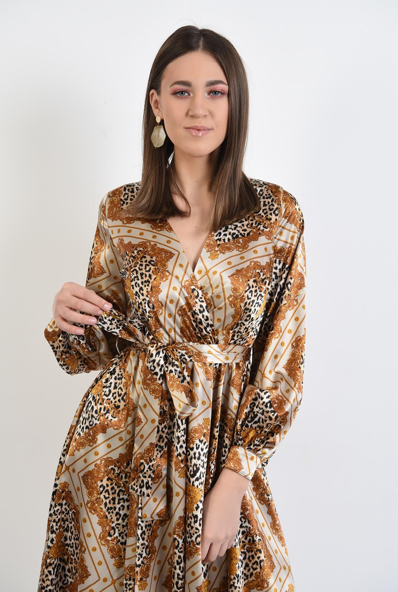2 -  rochie eleganta, midi, evazata, cu imprimeu, animal print, rochie de primavara