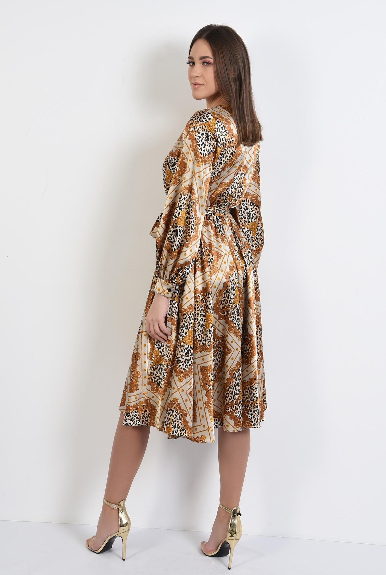 1 -  rochie eleganta, midi, evazata, cu imprimeu, animal print, rochie de primavara