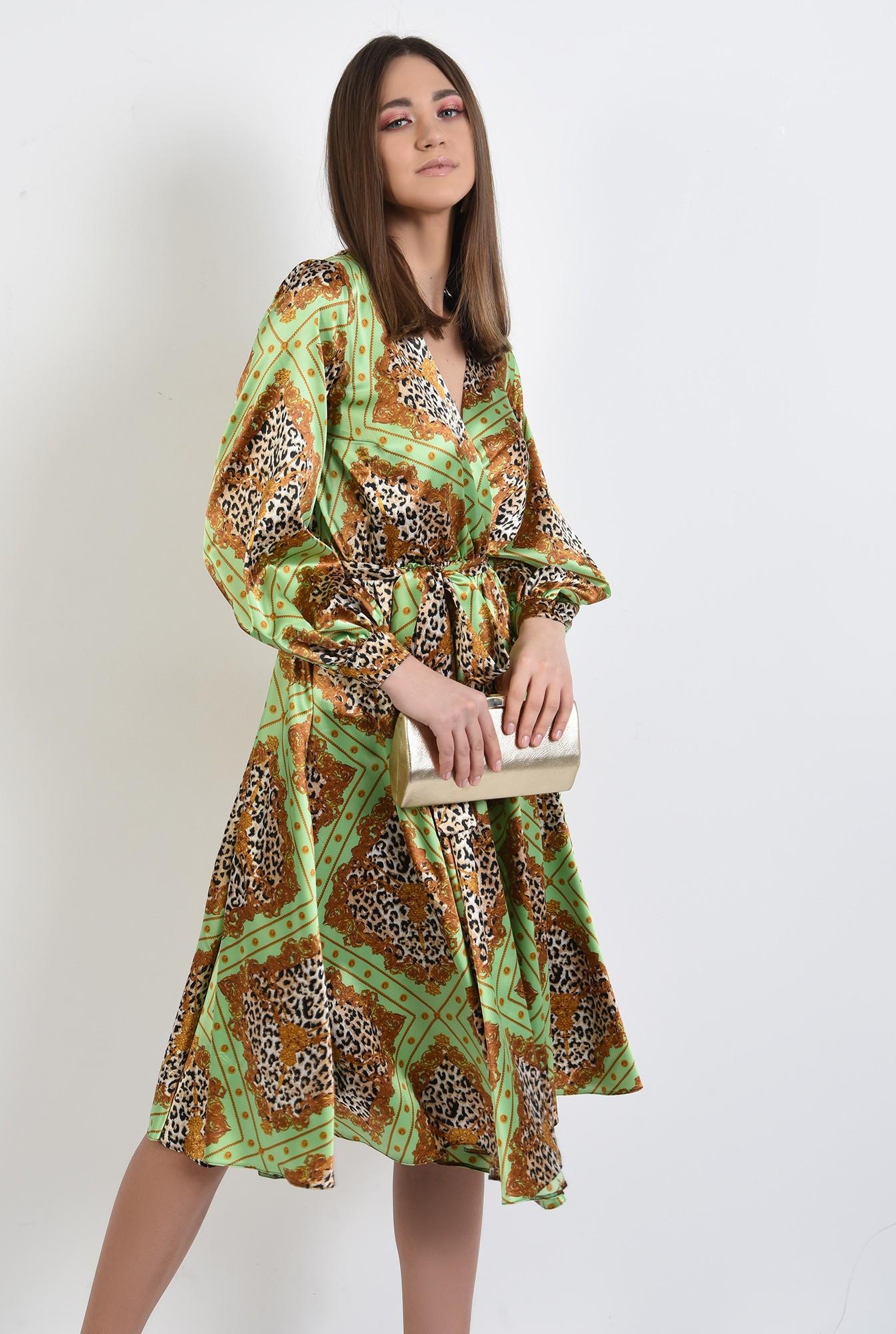 0 - 360 - rochie eleganta, din satin, cu imprimeu, maneci bufante, clos, animal print