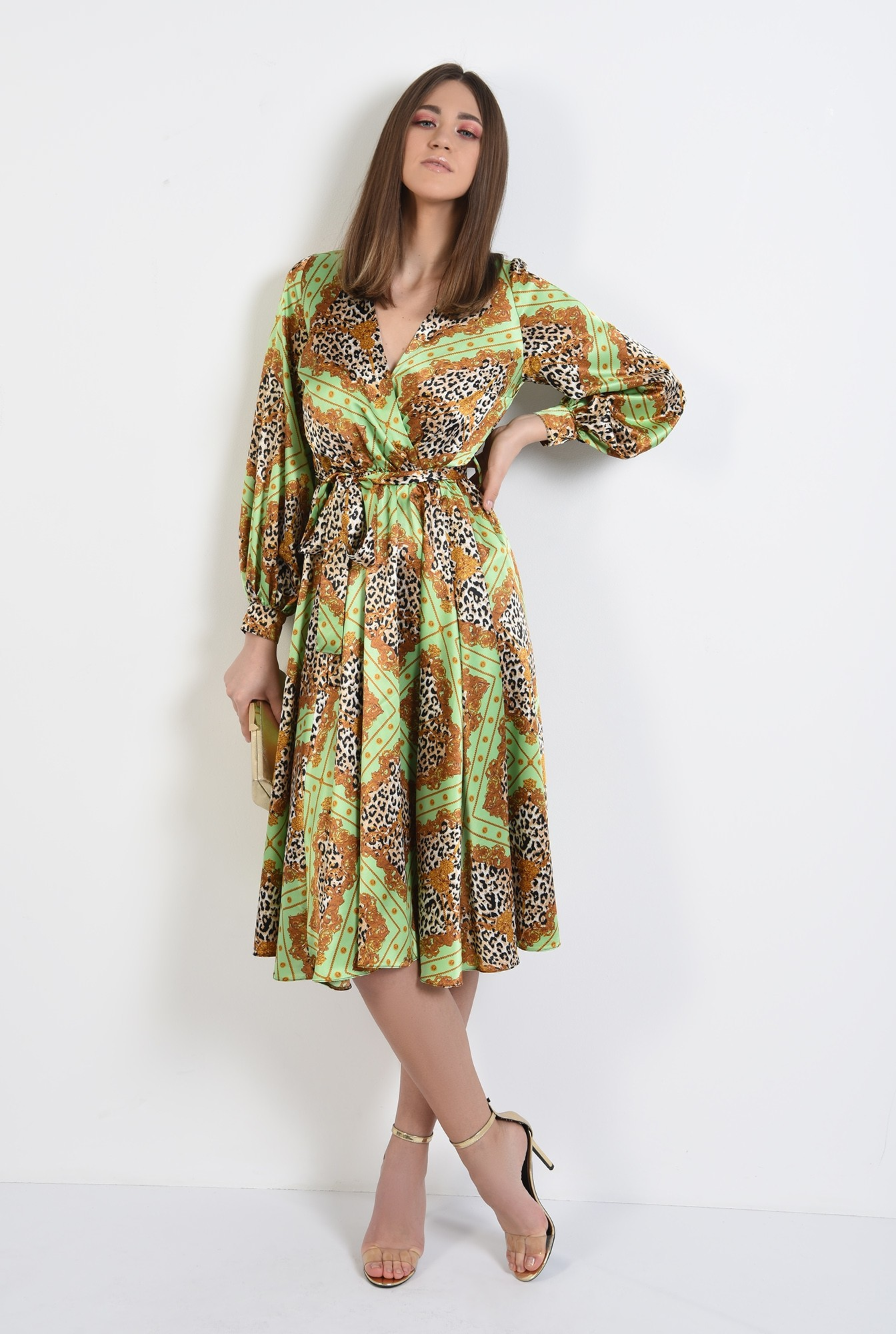 3 - 360 - rochie eleganta, din satin, cu imprimeu, maneci bufante, clos, animal print