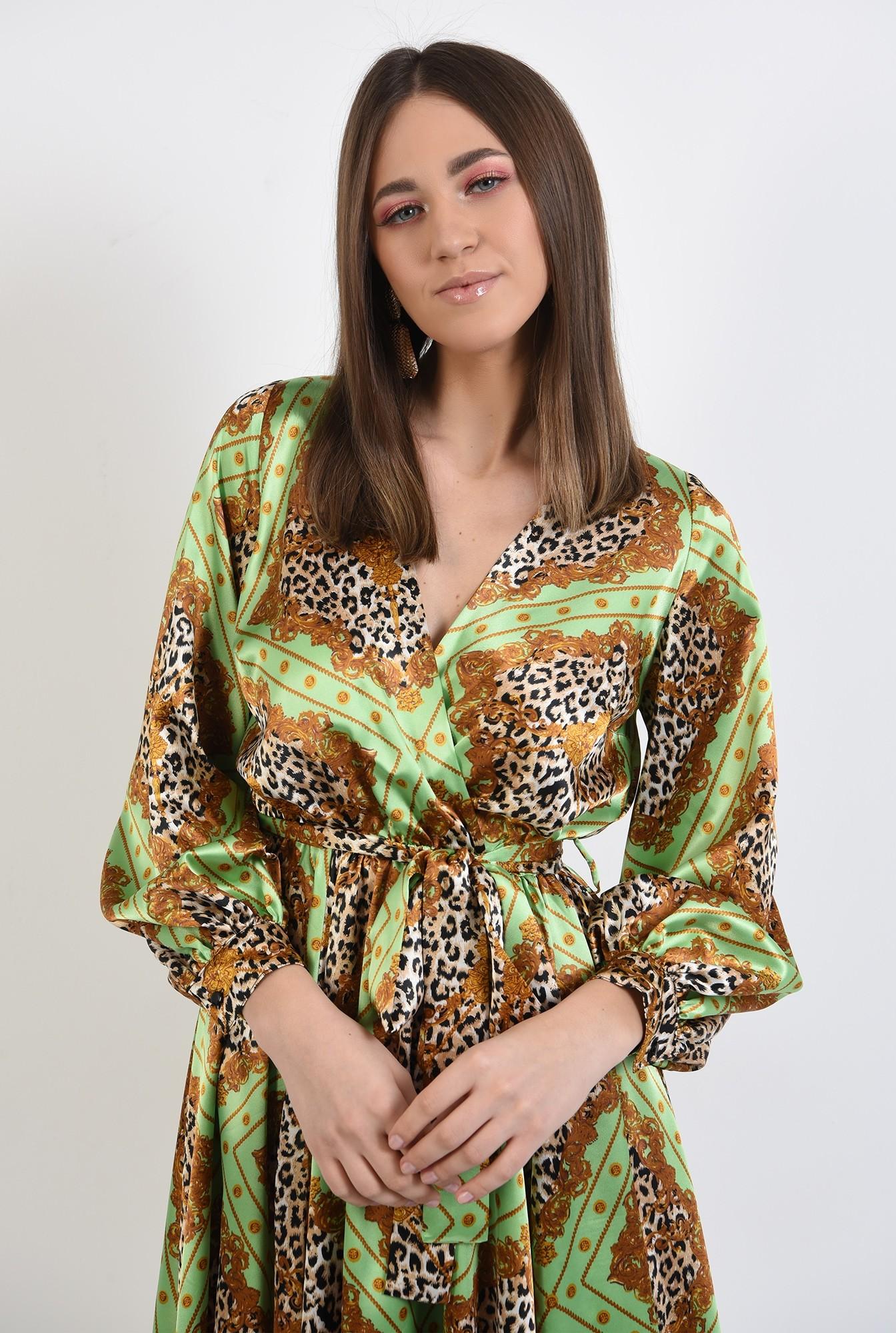2 - 360 - rochie eleganta, din satin, cu imprimeu, maneci bufante, clos, animal print