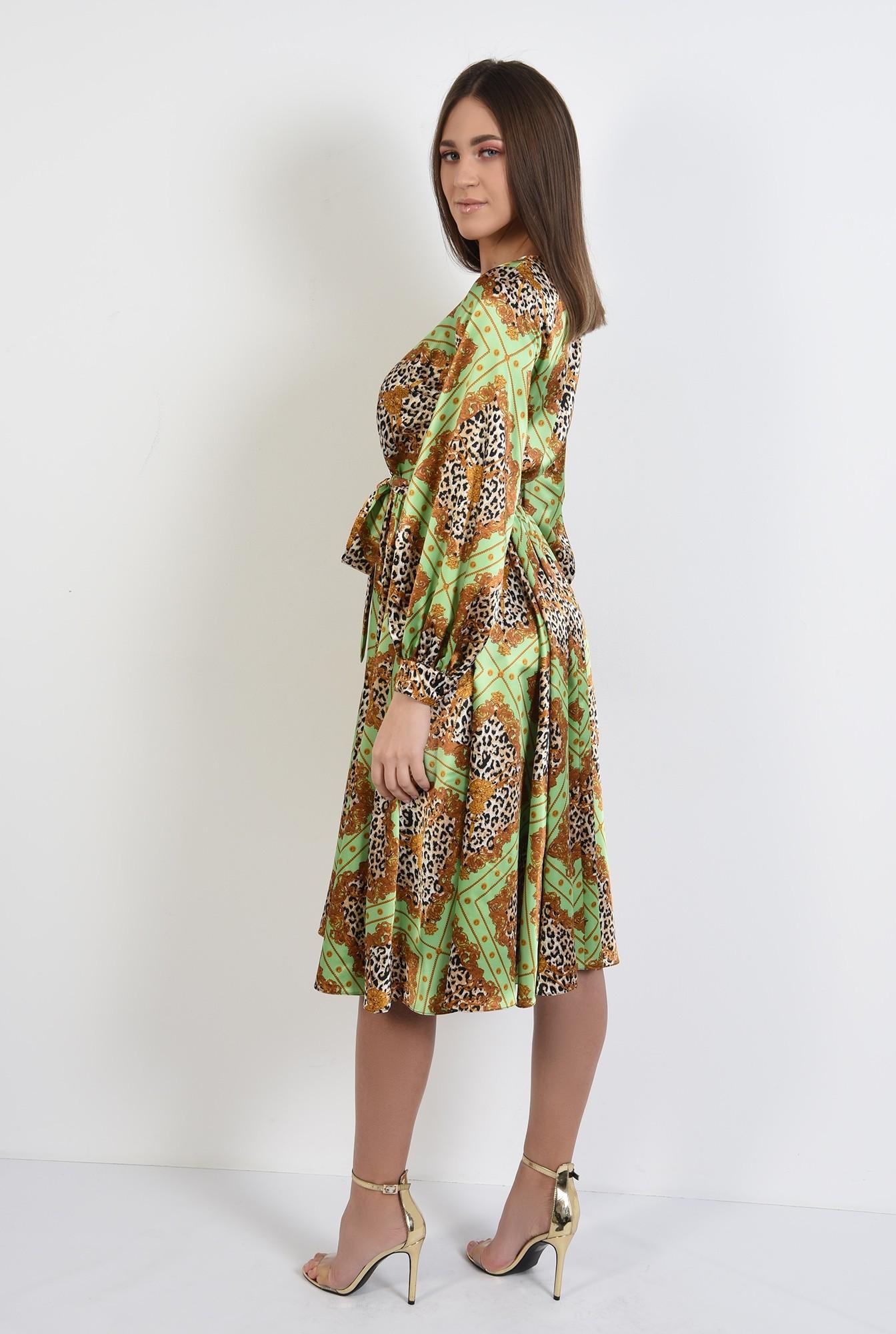 1 - 360 - rochie eleganta, din satin, cu imprimeu, maneci bufante, clos, animal print