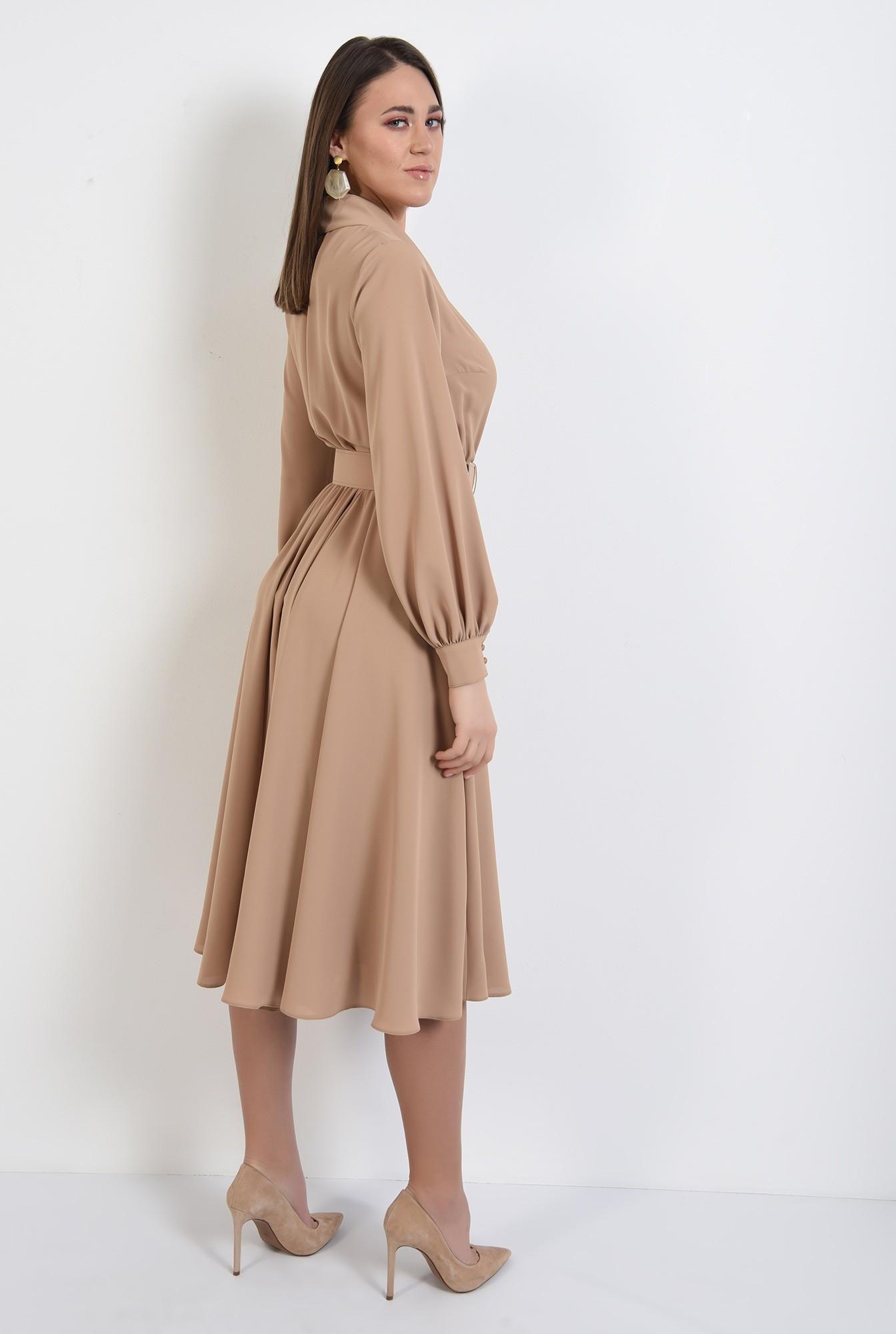 1 - rochie midi, eleganta, clos, cu revere, cu centura, Poema