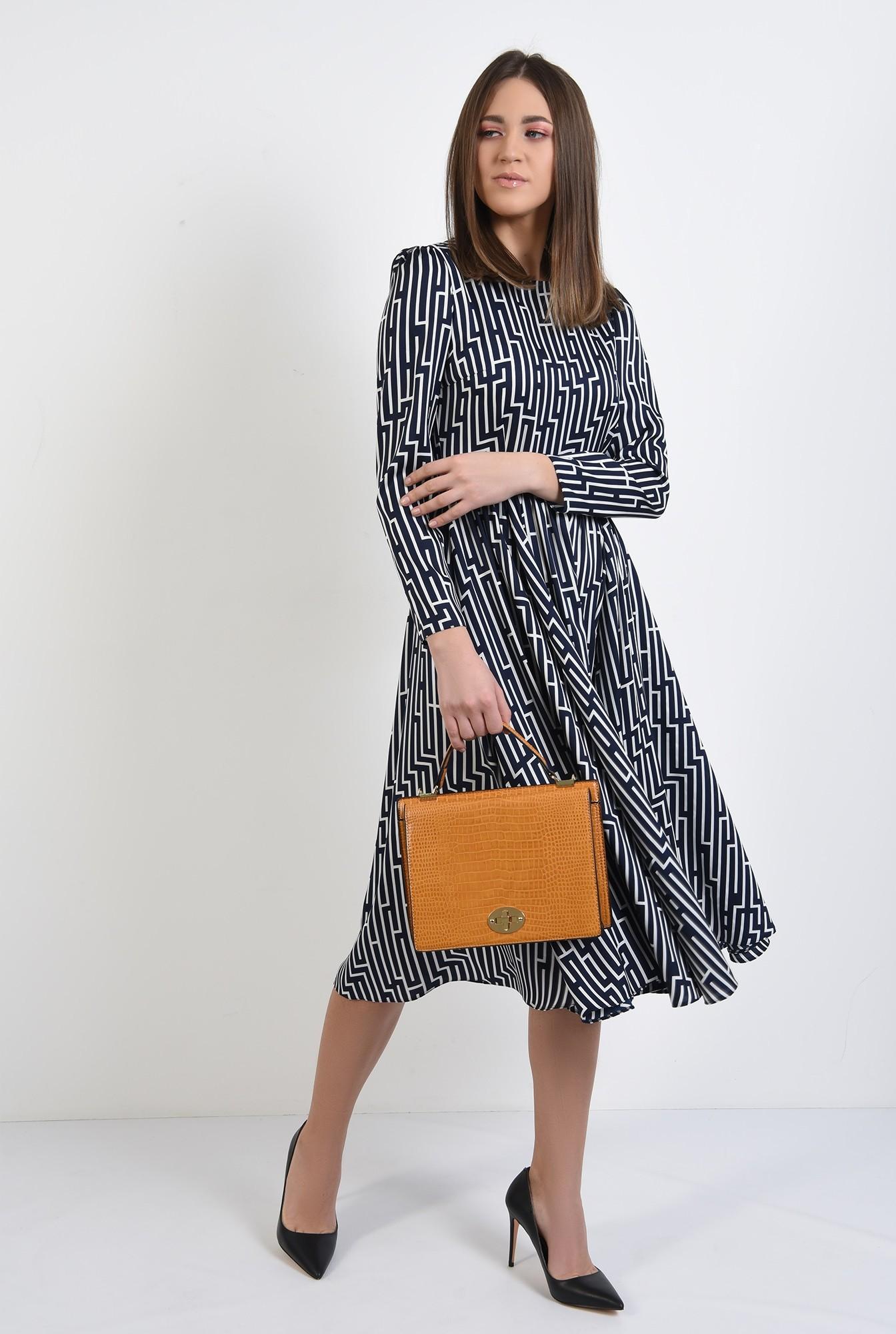 3 -  rochie midi, evazata, cu motive geometrice, maneci lungi, bleumarin