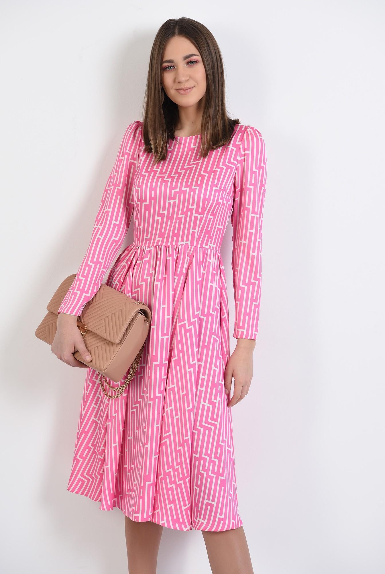 0 - rochie midi, evazata, cu motive geometrice, maneci lungi, roz