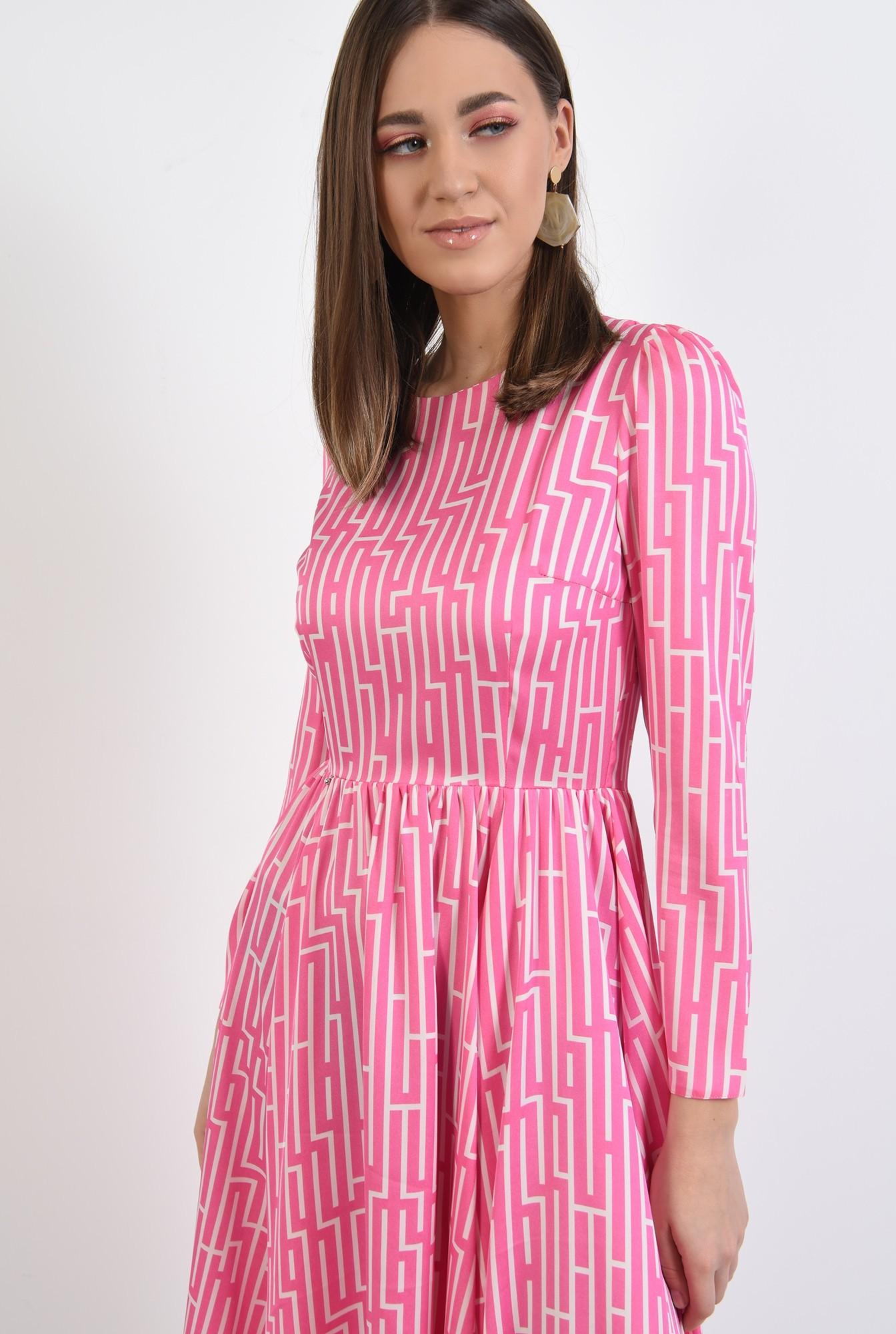 2 - rochie midi, evazata, cu motive geometrice, maneci lungi, roz