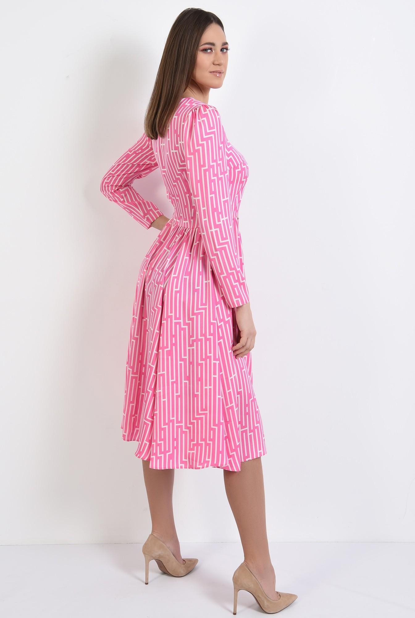 1 - rochie midi, evazata, cu motive geometrice, maneci lungi, roz