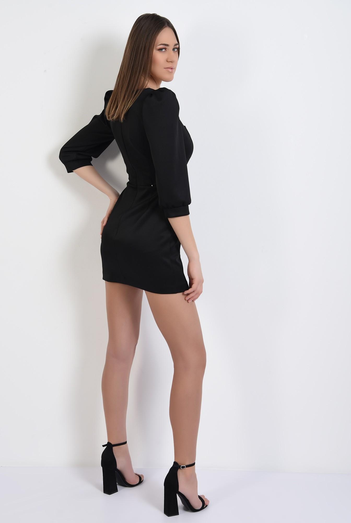 1 - rochie eleganta, neagra, cu catarama decorativa, scurta, cu decolteu
