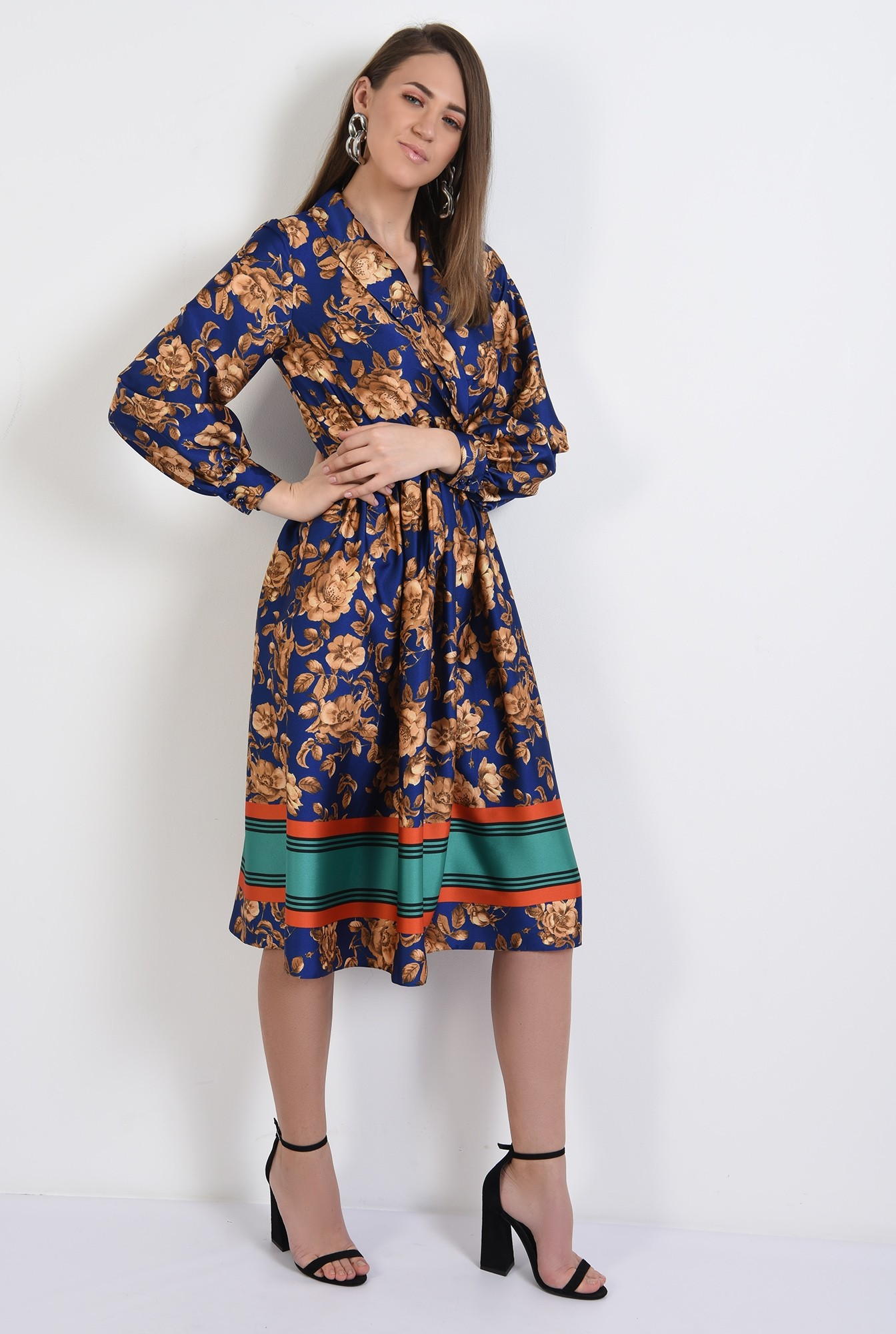 3 - 360 - rochie midi, evazata, satin, cu imprimeu floral