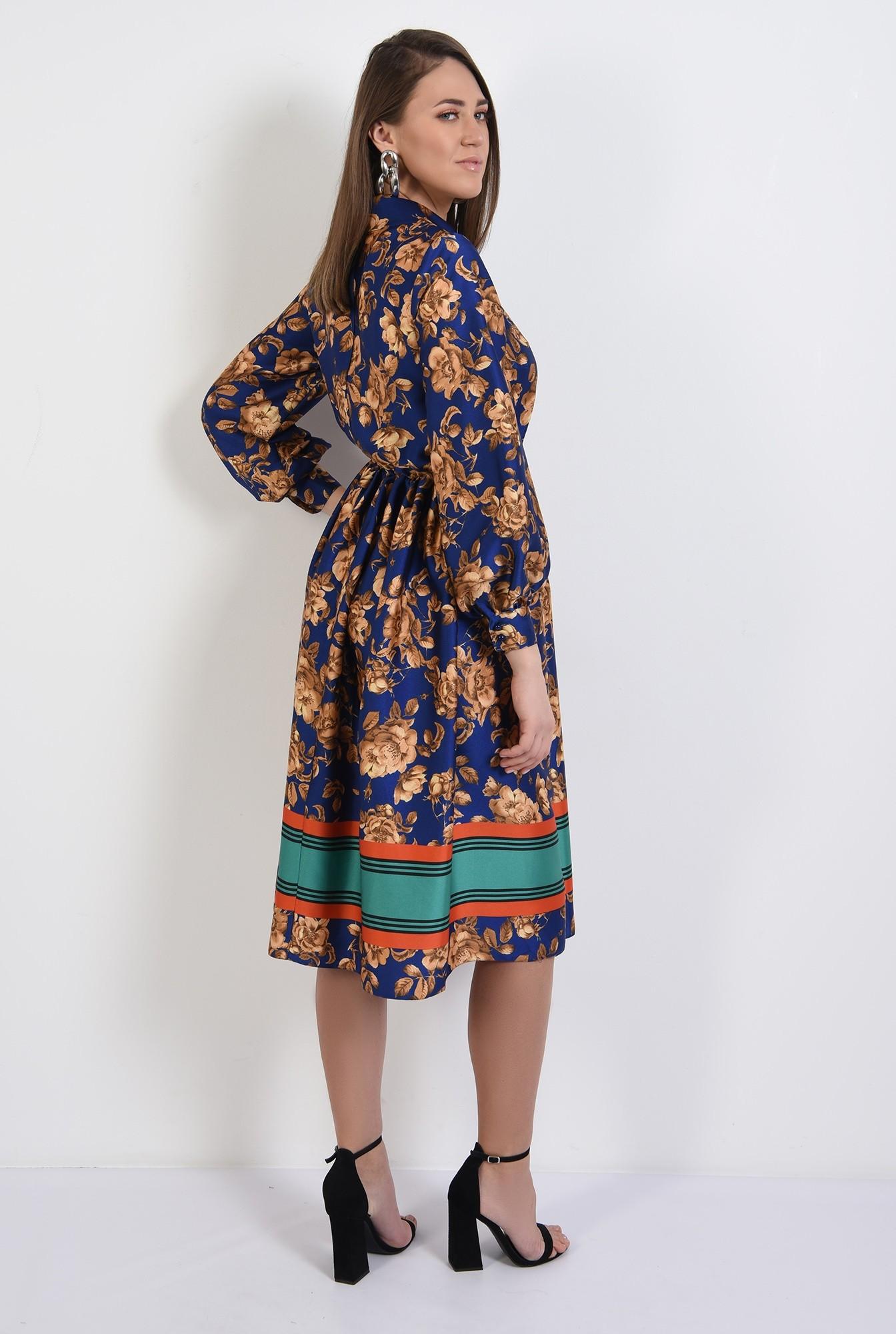 1 - 360 - rochie midi, evazata, satin, cu imprimeu floral