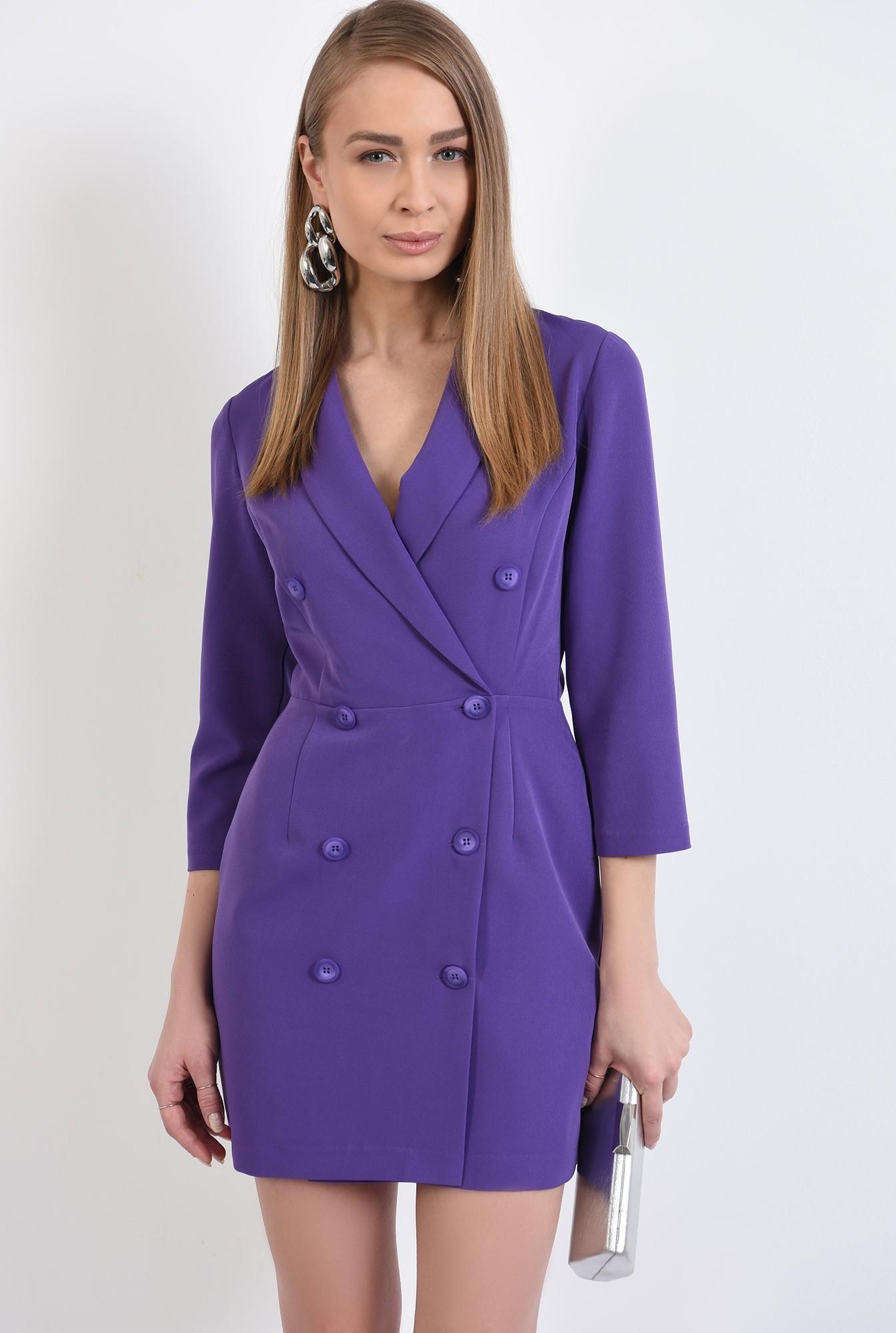 2 -  rochie blazer, mini, cambrata, maneci midi, cu revere, mov