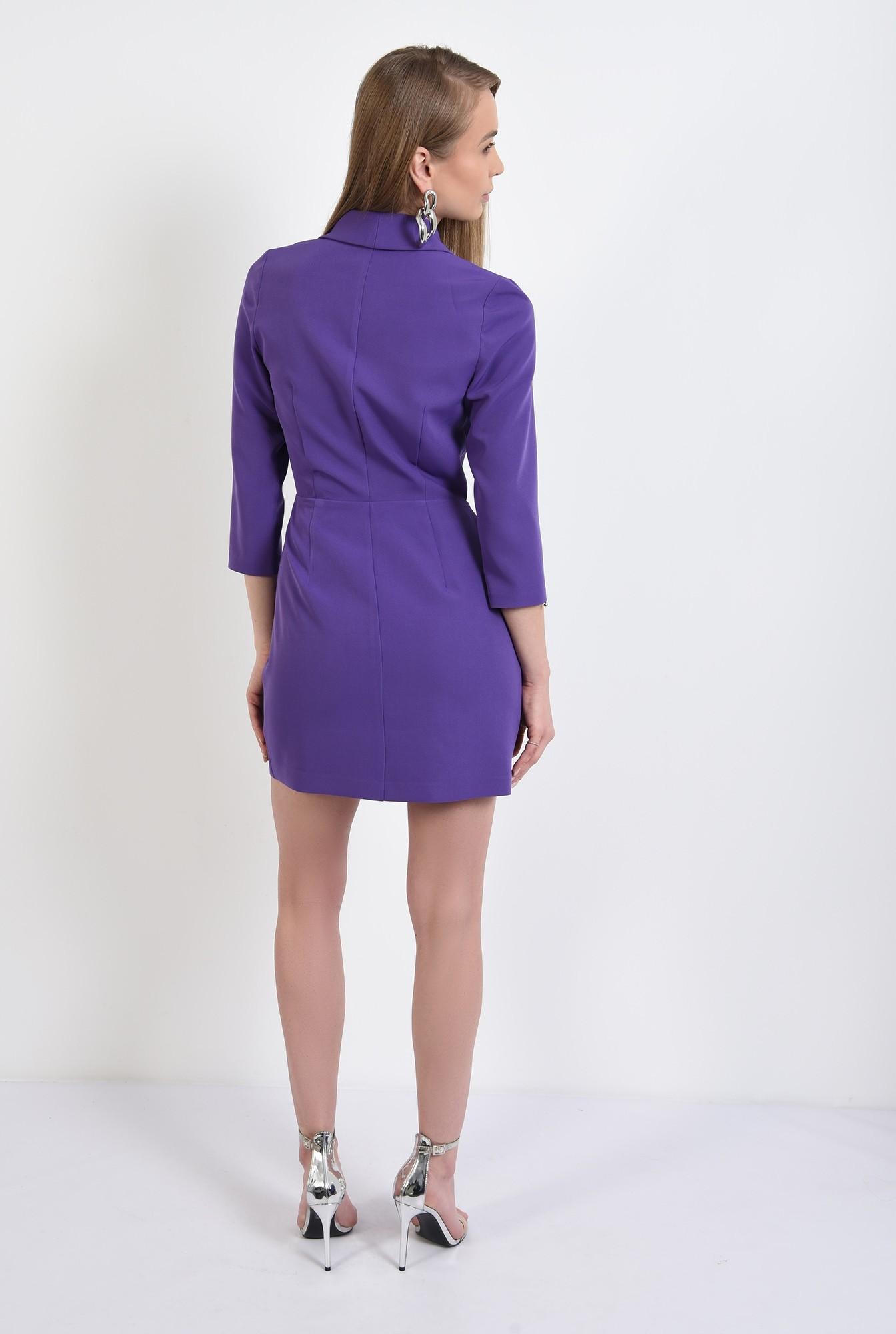 1 -  rochie blazer, mini, cambrata, maneci midi, cu revere, mov