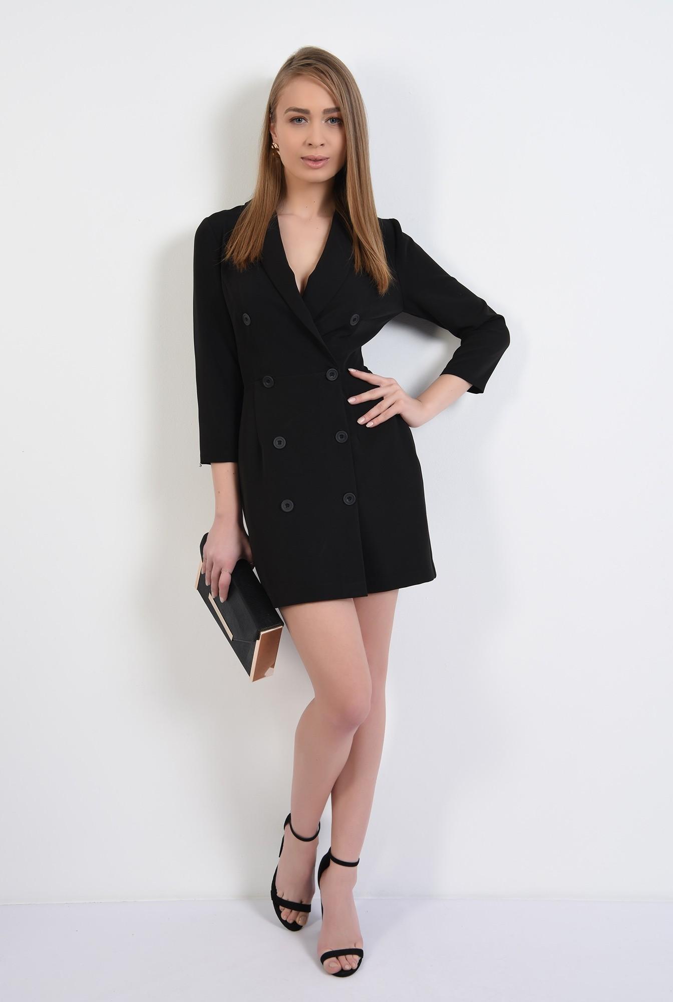 3 - rochie blazer, neagra, scurta, doua randuri de nasturi, revere